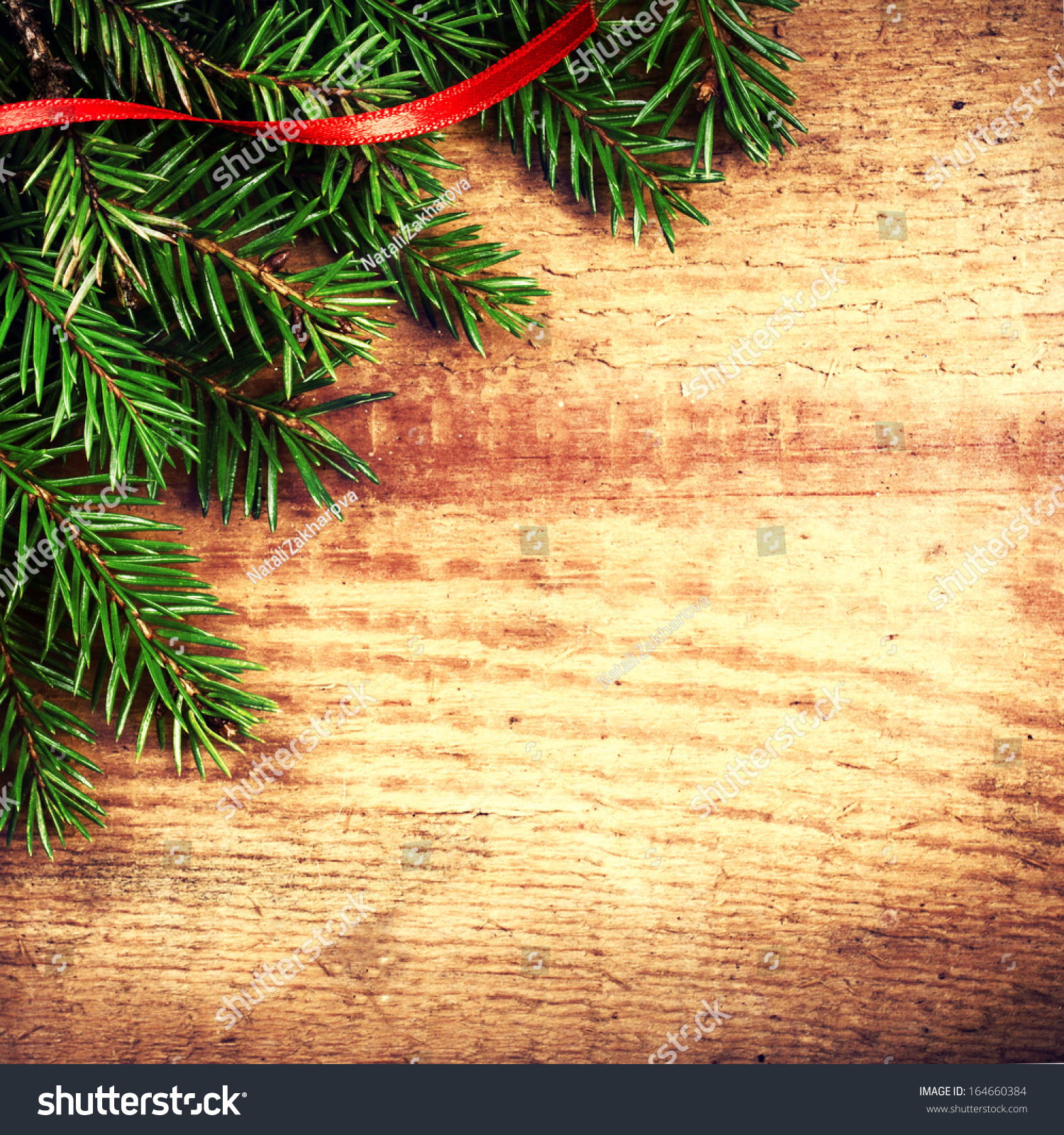 Christmas Background Fir Tree Branch Red Stock Photo (Edit Now ...