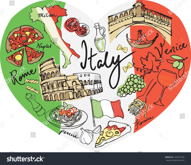 Italian Restaurant Logo With Flag: Heart Shape Italy Vector Icons Stock Vector 164674148