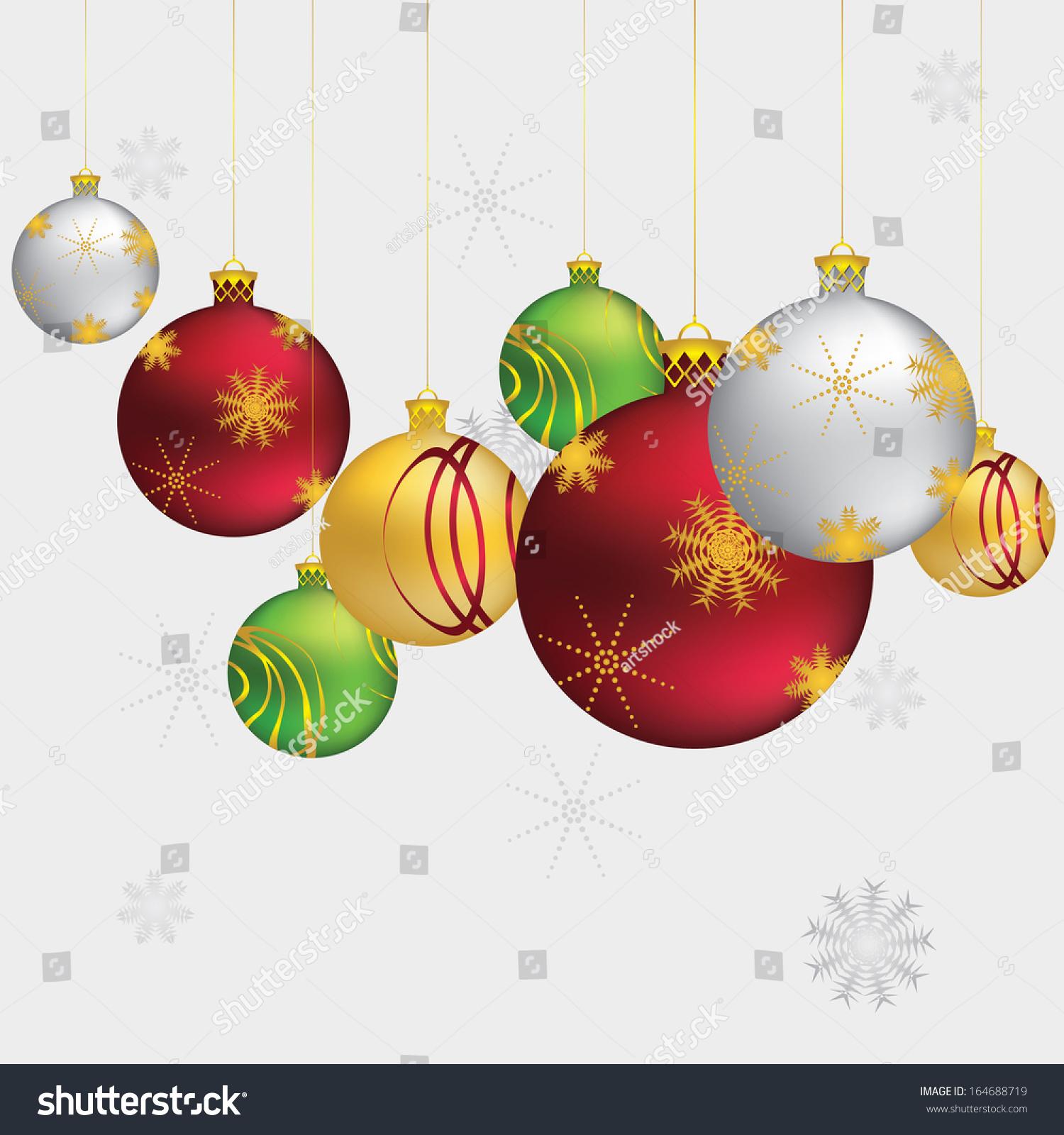 Beautiful Christmas Balls, Decorative Ornaments On Grey ...