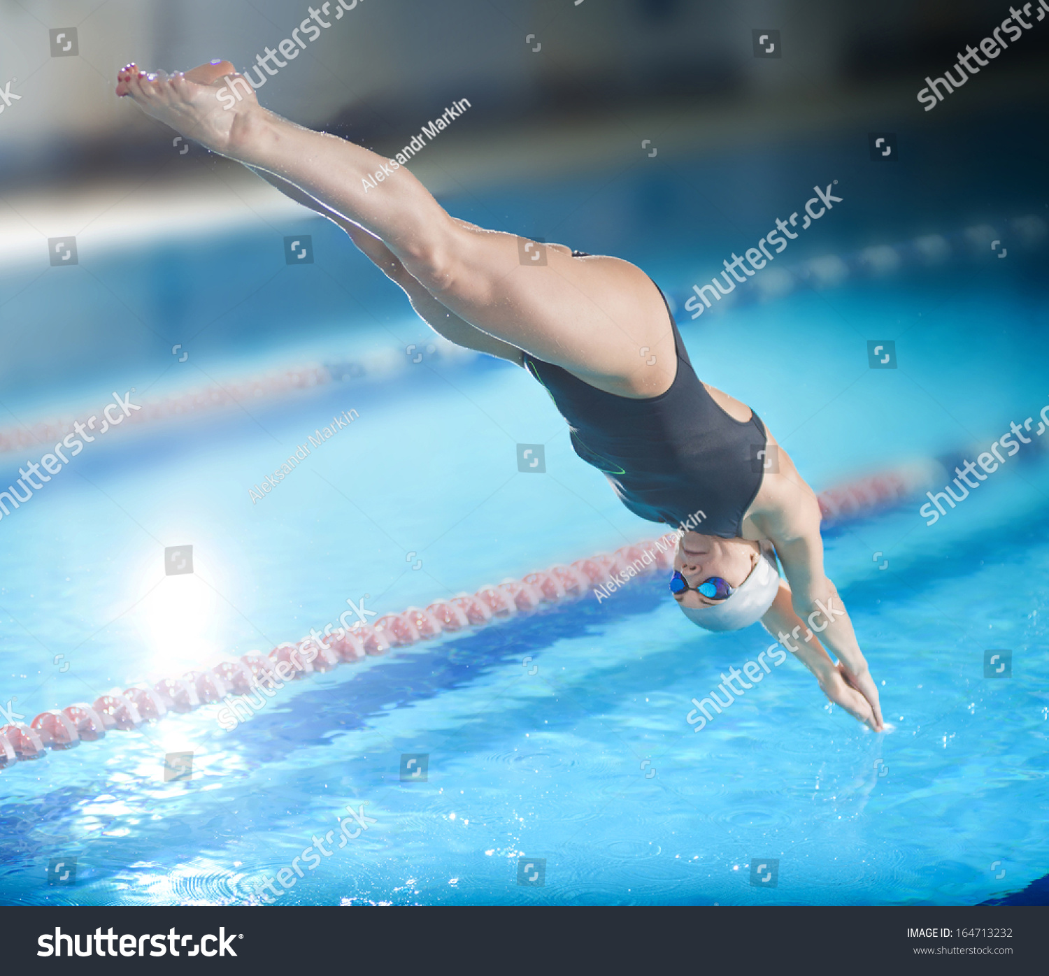 Royalty Free Portrait Of A Female Swimmer That 164713232 Stock Photo