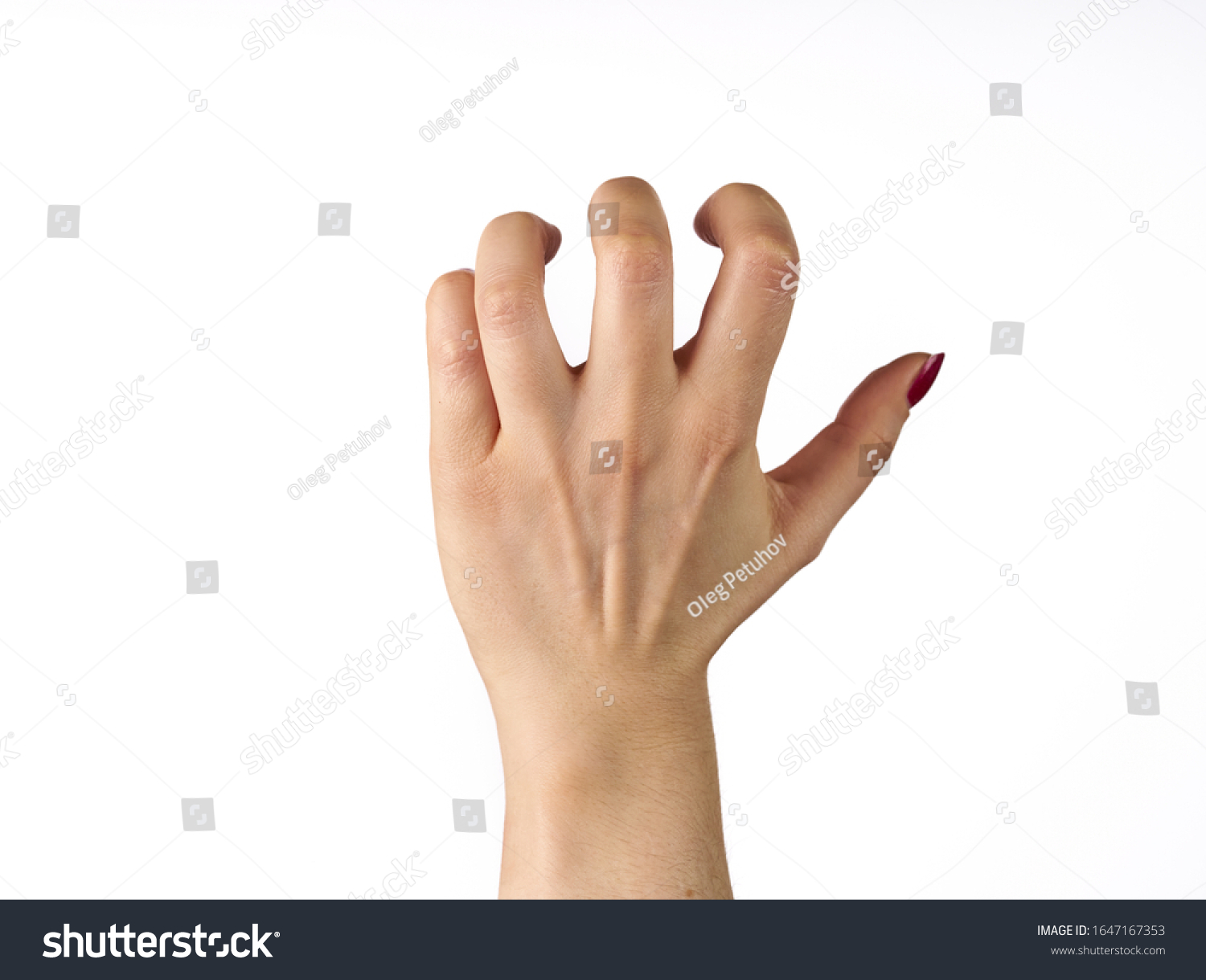hand of a woman trying to reach or grab something. fling, touch sign. isolated on white background. #1647167353