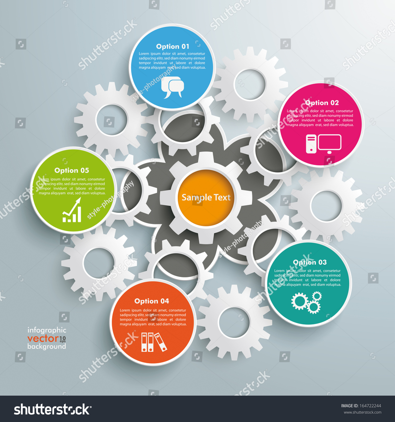 Infographic Design On Grey Background Eps Stock Vector 164722244 ...