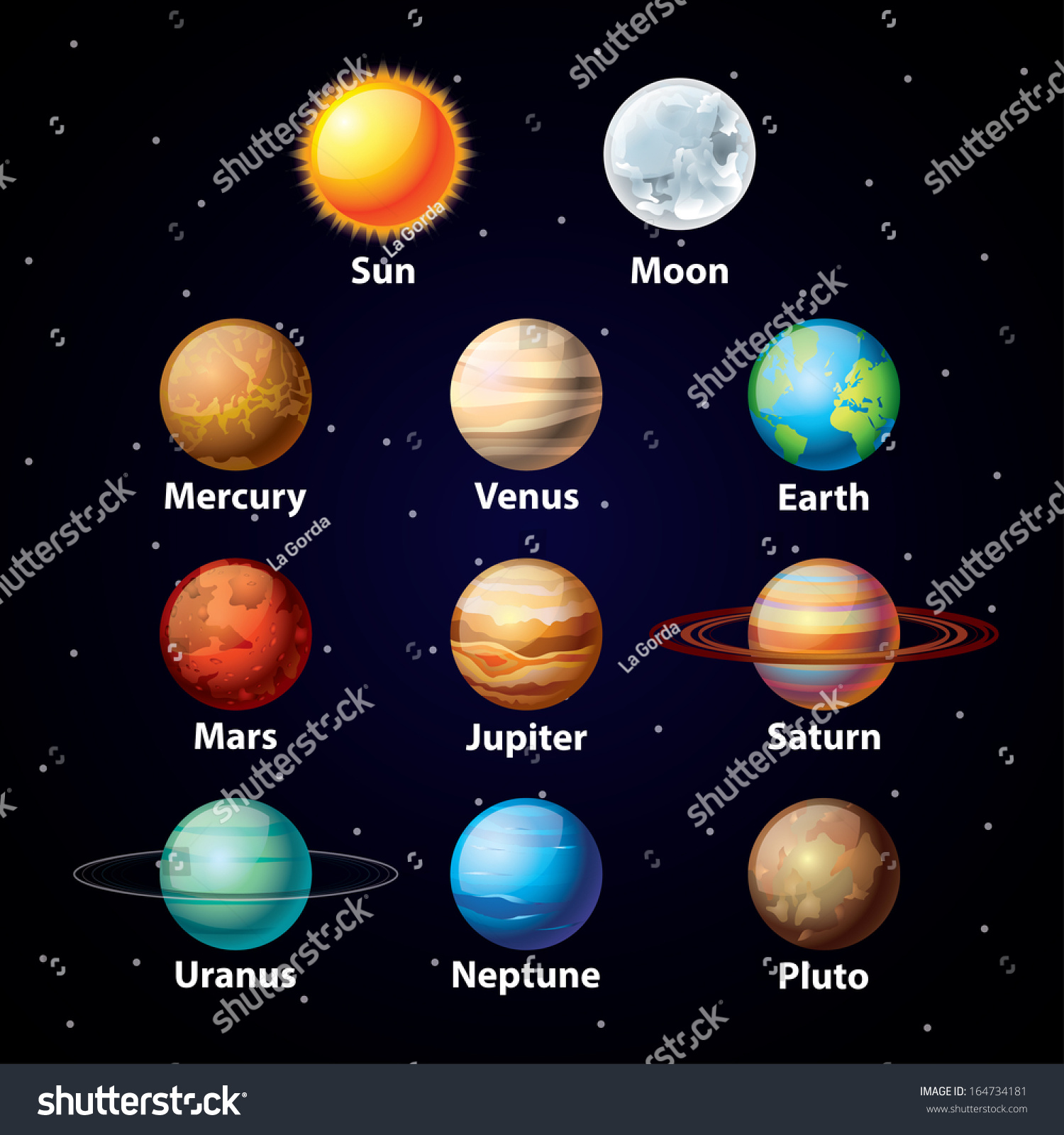 glossy planets colorful vector set on stock vector