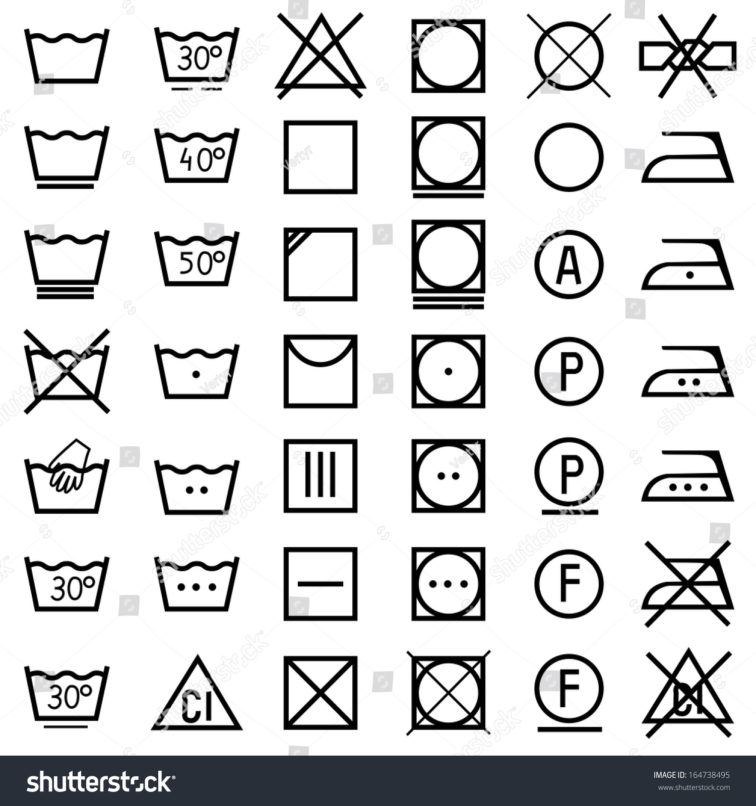 Set vector icons on clothing label stock vector 164738495 shutterstock set of vector icons on clothing label biocorpaavc Image collections