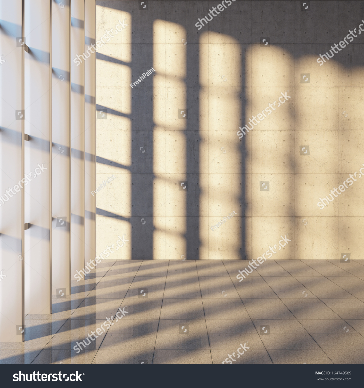 Architectural design modern concrete hall panoramic stock for Window design cement
