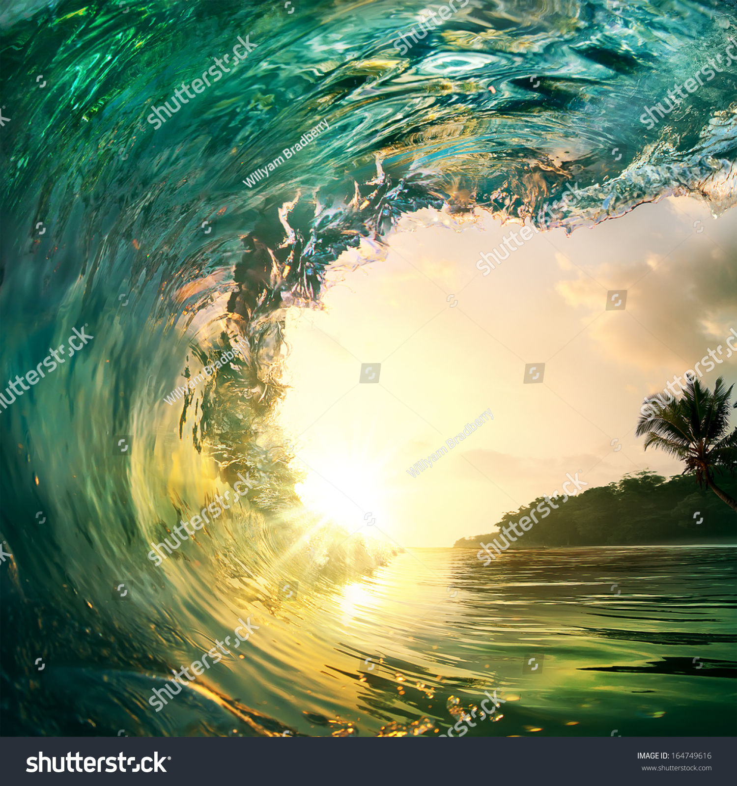 Tropical Sunset Background Beautiful Colorful Ocean Stock