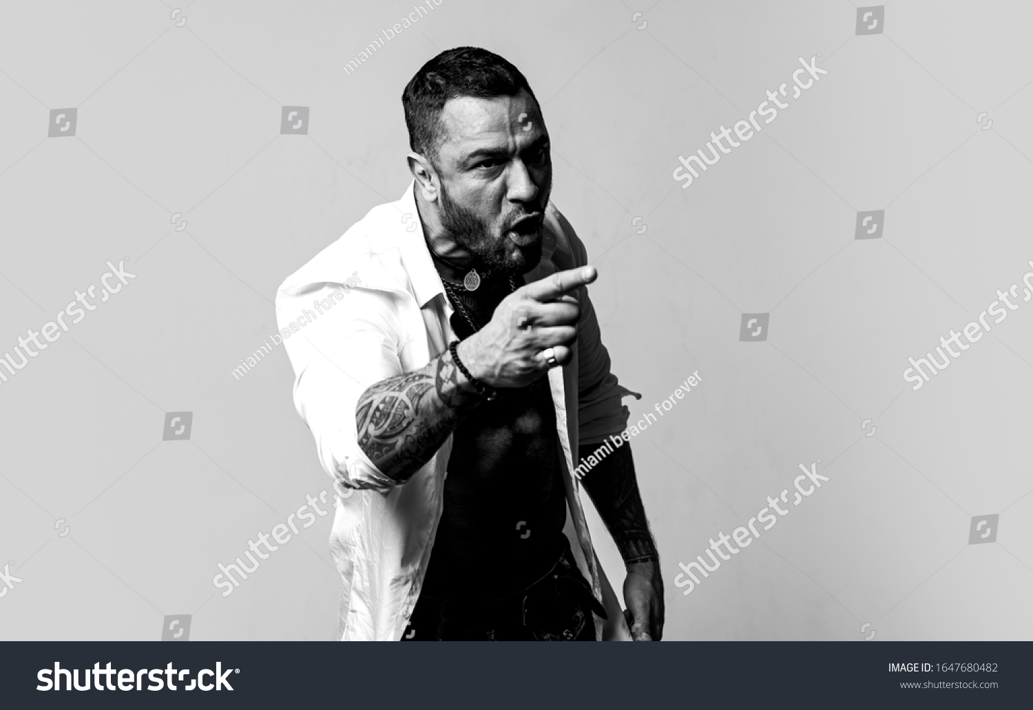 Anger concept. Aggressive man shout with anger. Guy tense face shouting pointing finger forward. Anger attack. I am so angry. Unhappy mafia boss. Guy handsome mafia boss. Failed deal. #1647680482
