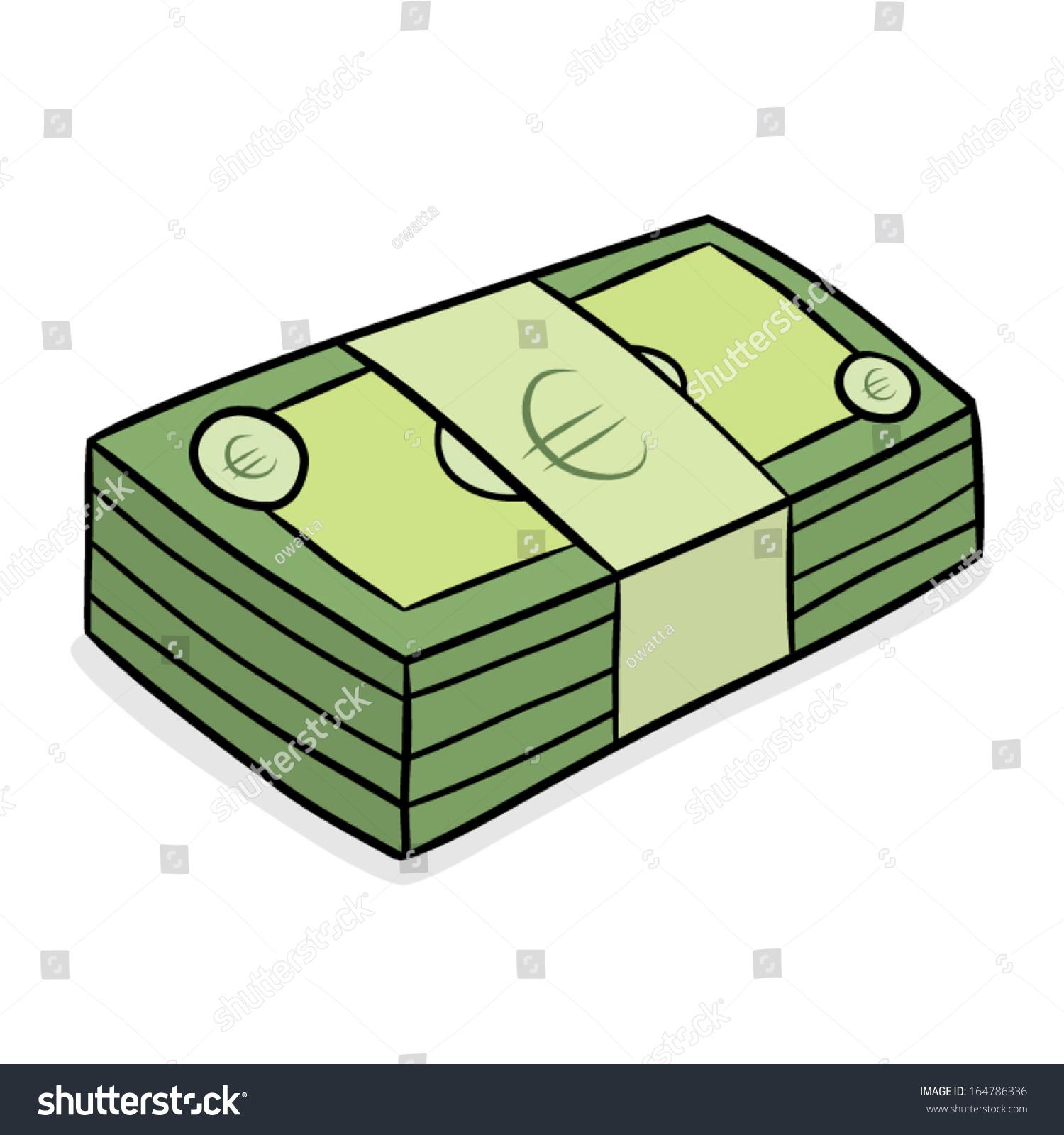 Stack Euro Bank Note Cartoon Vector Stock Vector 164786336