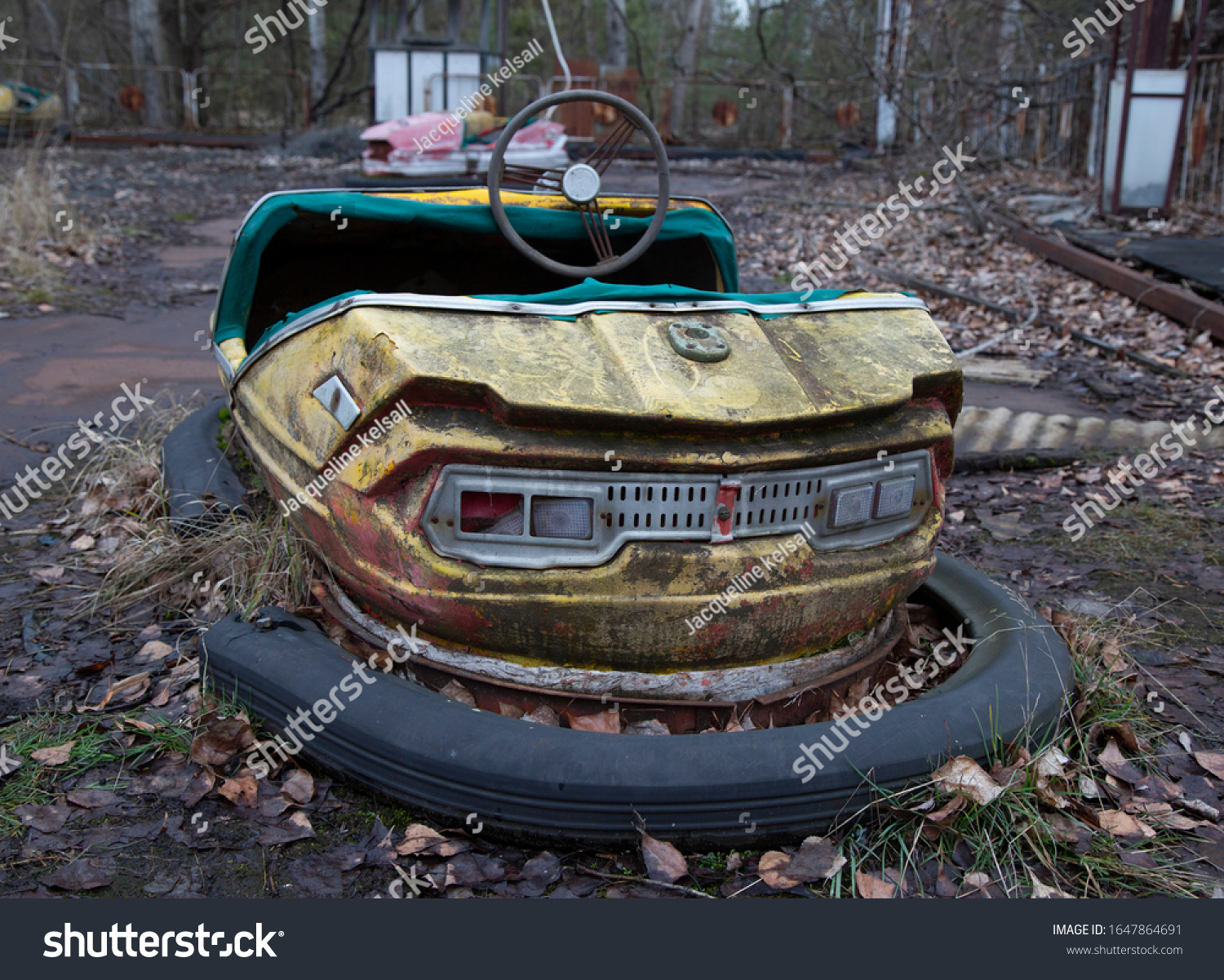 A vintage bumper car at the funfair at the abandoned Chernobyl nuclear reactor power plant in Ukraine