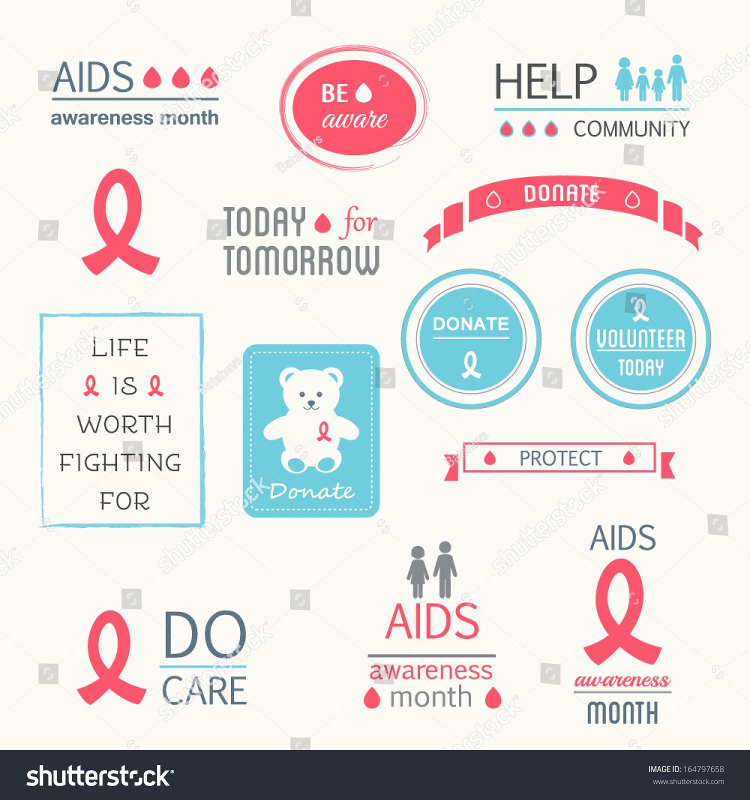 Aids Hiv Awareness Design Elements Ribbons Stock Vector 164797658 ...