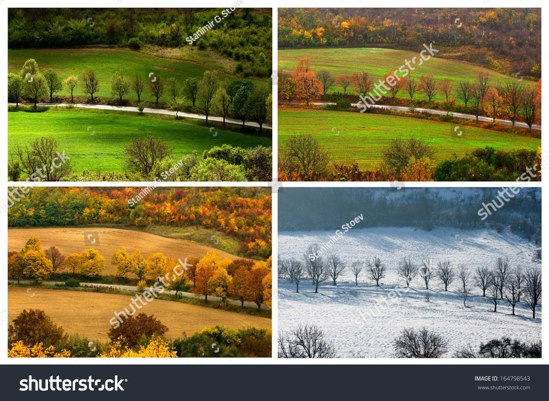 four seasons landscape with countryside views of Preslav. - Four Seasons Landscape Countryside Views Preslav Stock Photo (Edit