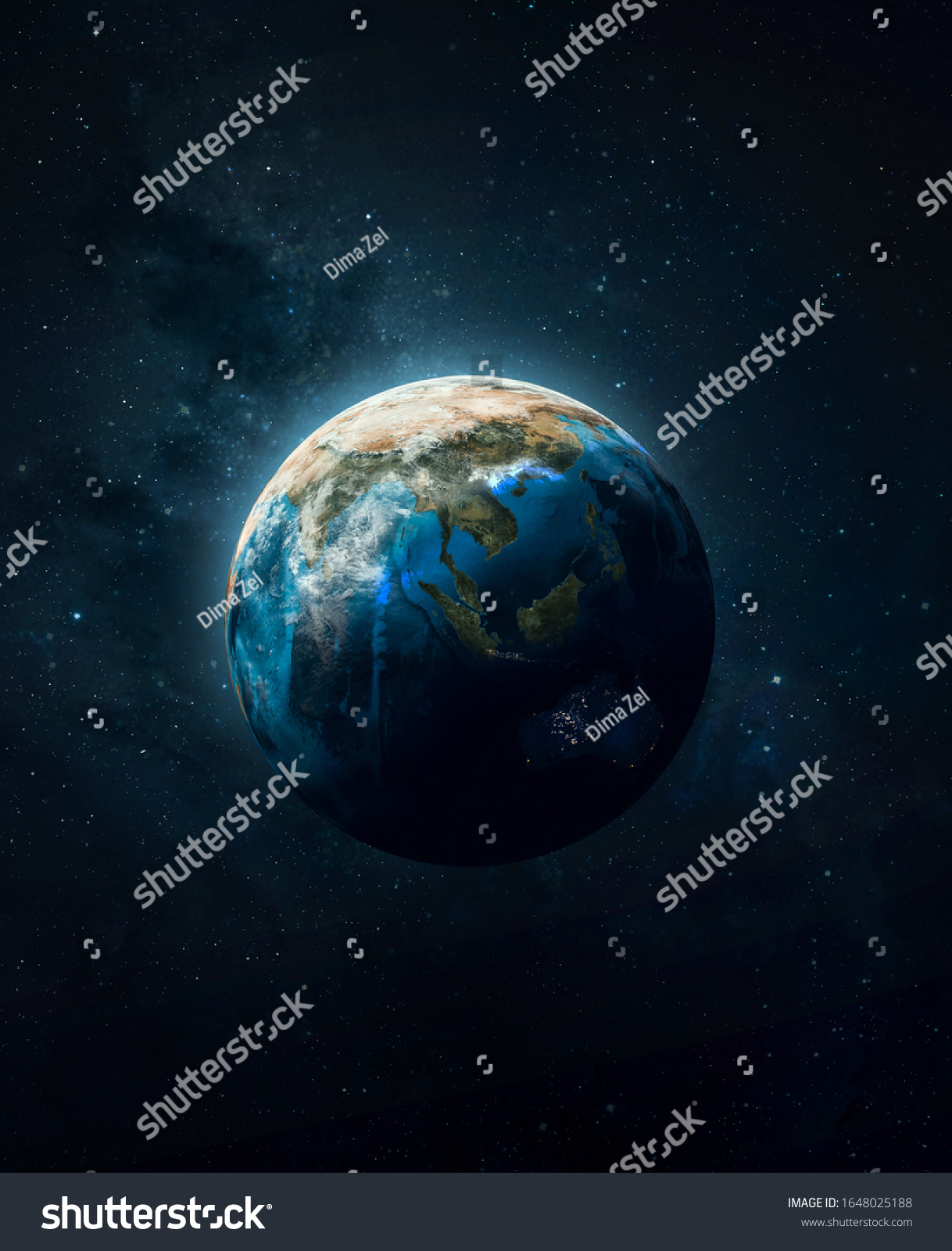 Planet Earth in dark outer space. Civilization. Elements of this image furnished by NASA #1648025188