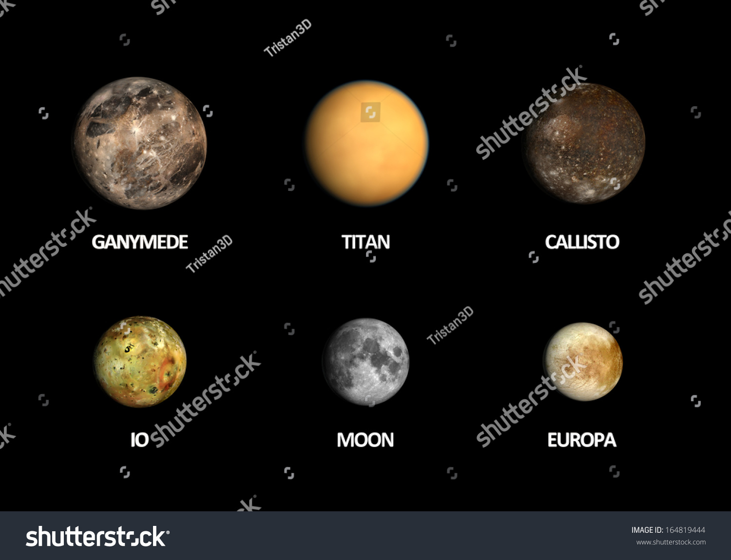 Rendered Comparison Between Jupiter Moons Earth Stock ...