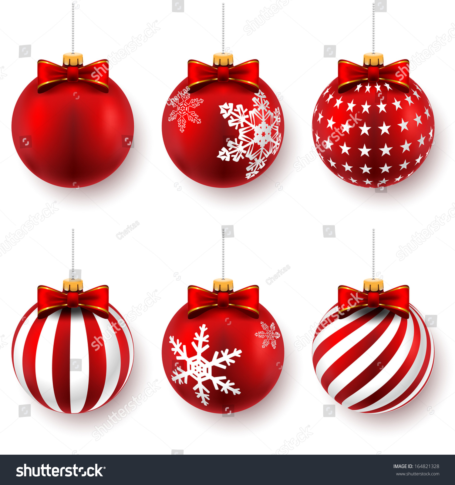 Red christmas balls on gift bows stock vector