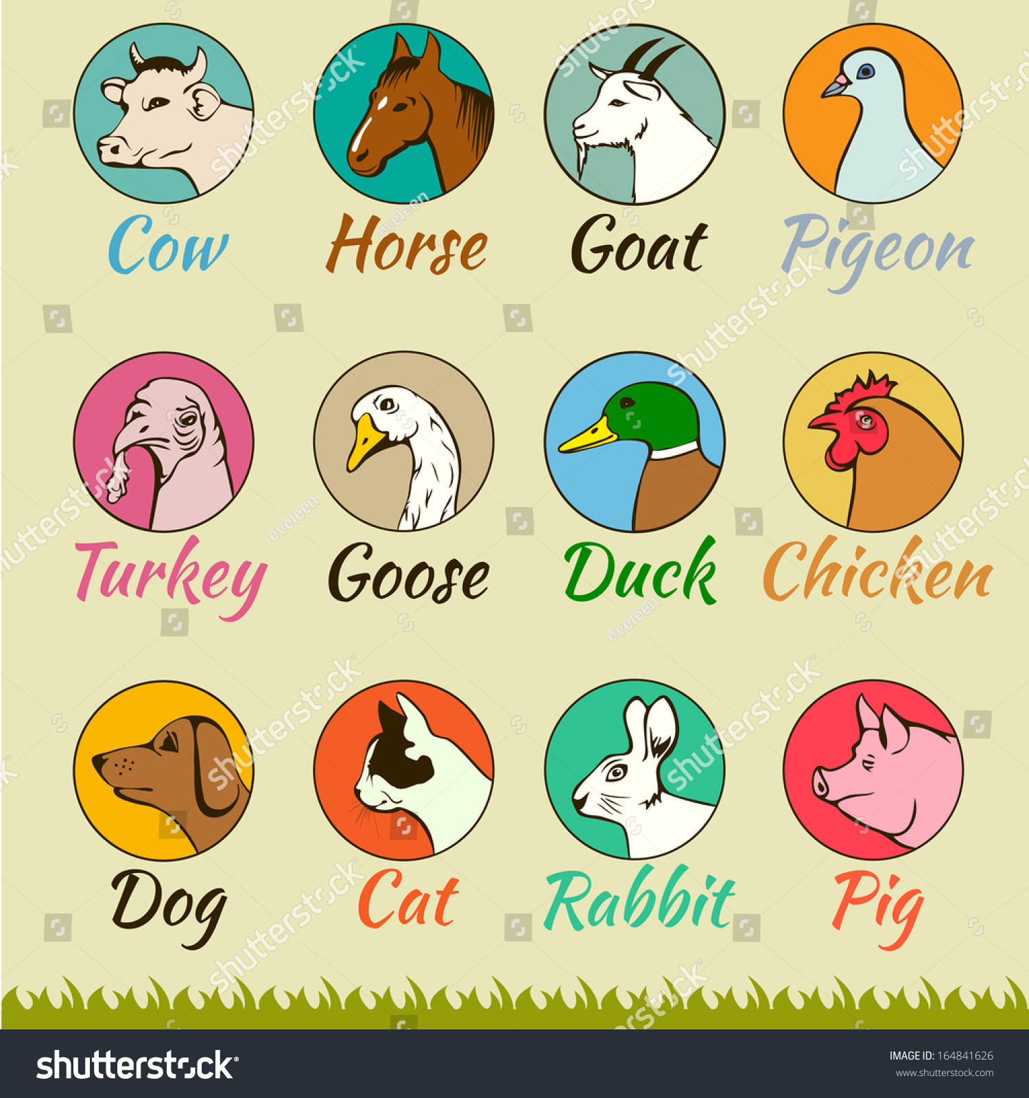 Agri cultures project logo duckdog design - Farm Animal Heads Isolated Cat Dog Horse Pig Cow Goat Turkey Chicken Goose Duck Pigeon