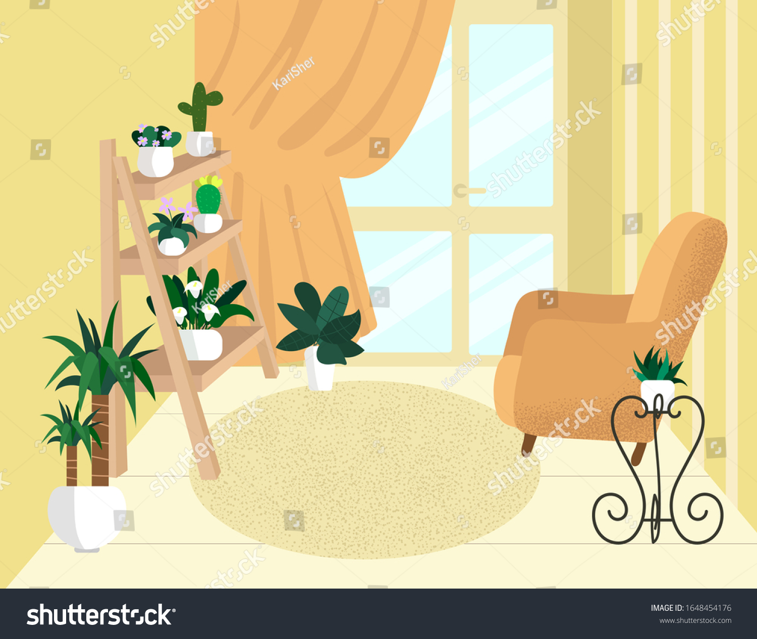 Indoor Flowers Room Cute Home Interior Royalty Free Stock Image