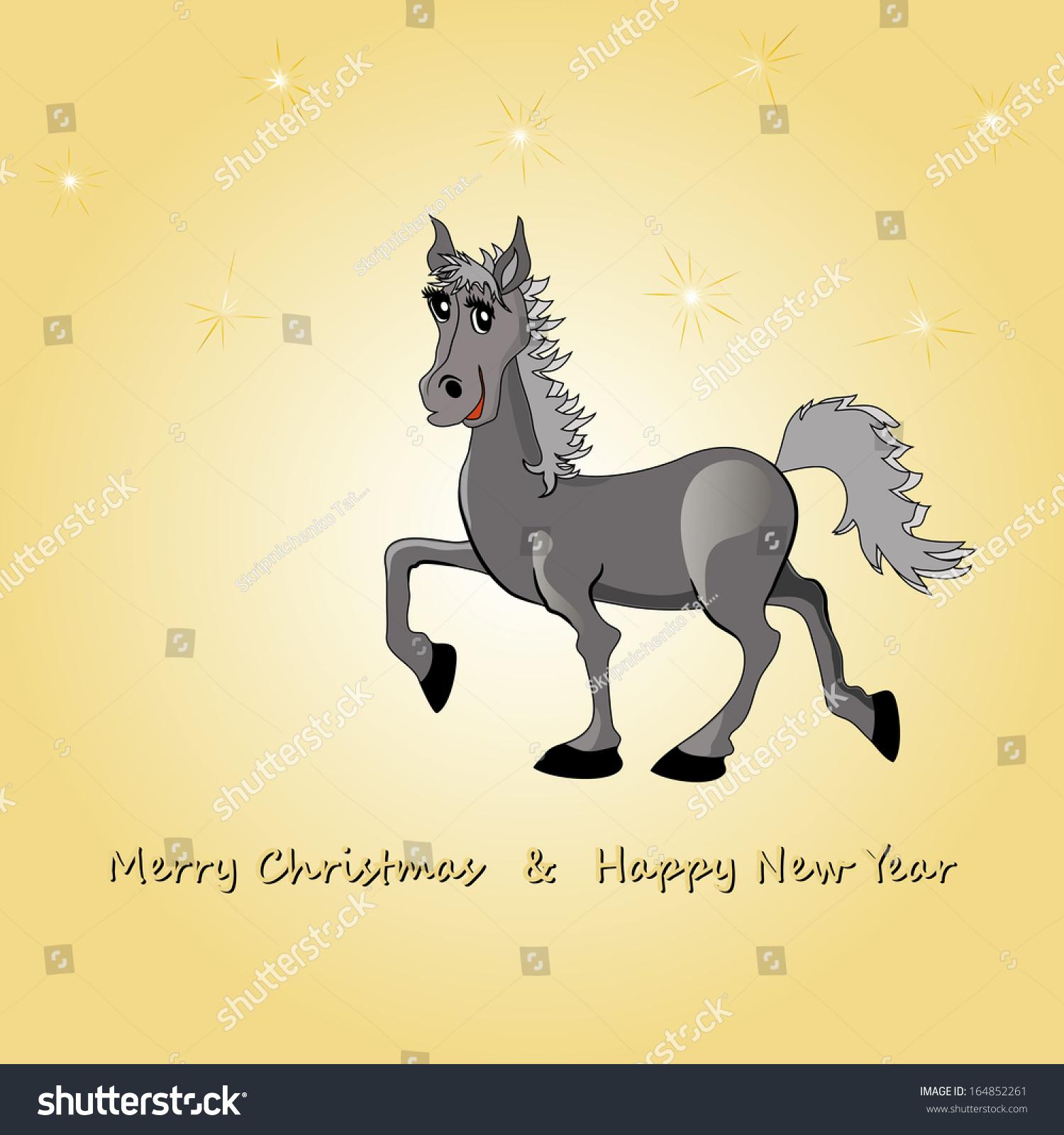 New years card horse symbol 2014 stock illustration 164852261 new years card with a horse as a symbol of 2014 new year buycottarizona