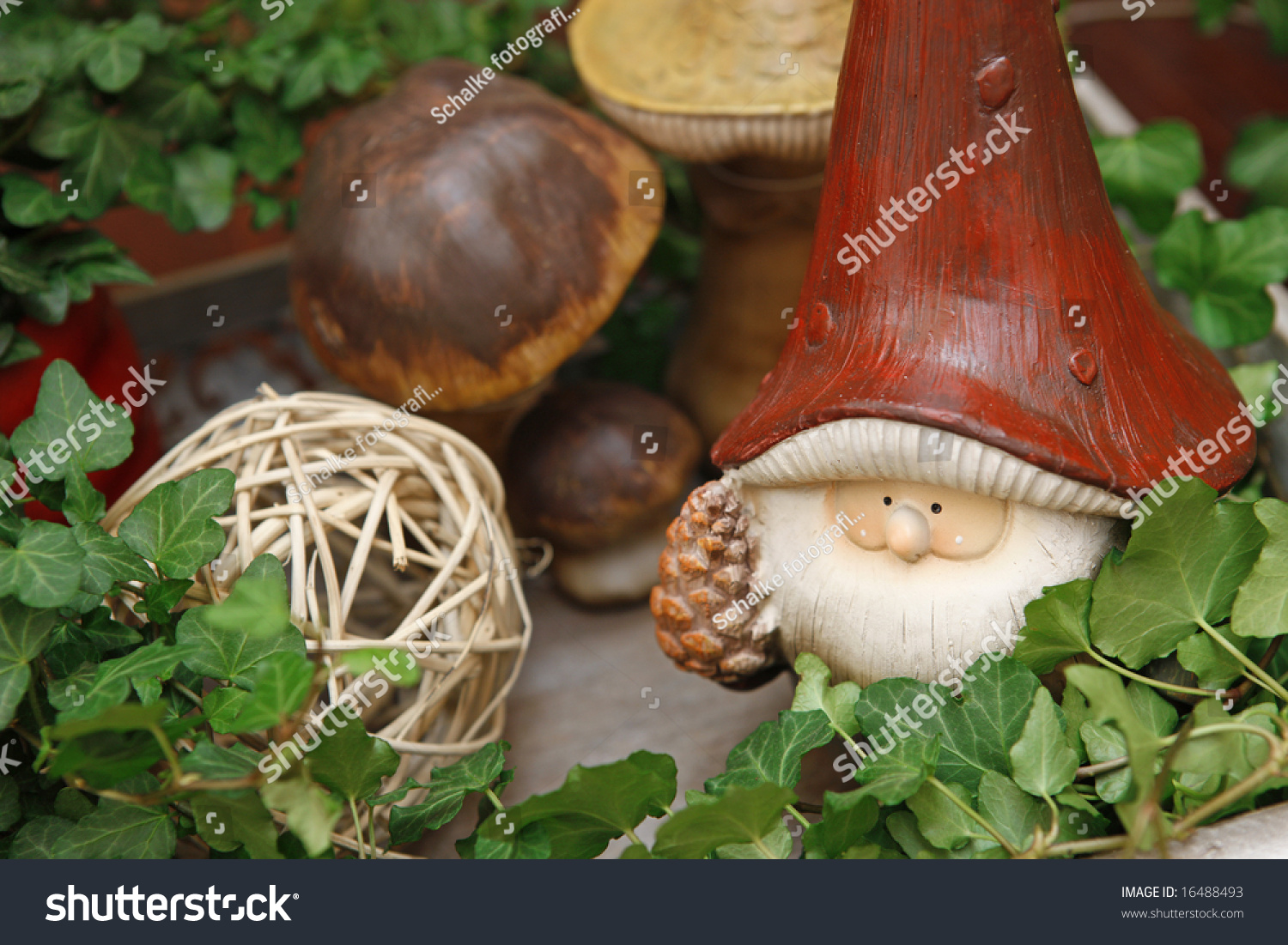 Little Garden Gnome Middle Fall Decoration Stock Photo (Edit Now ...