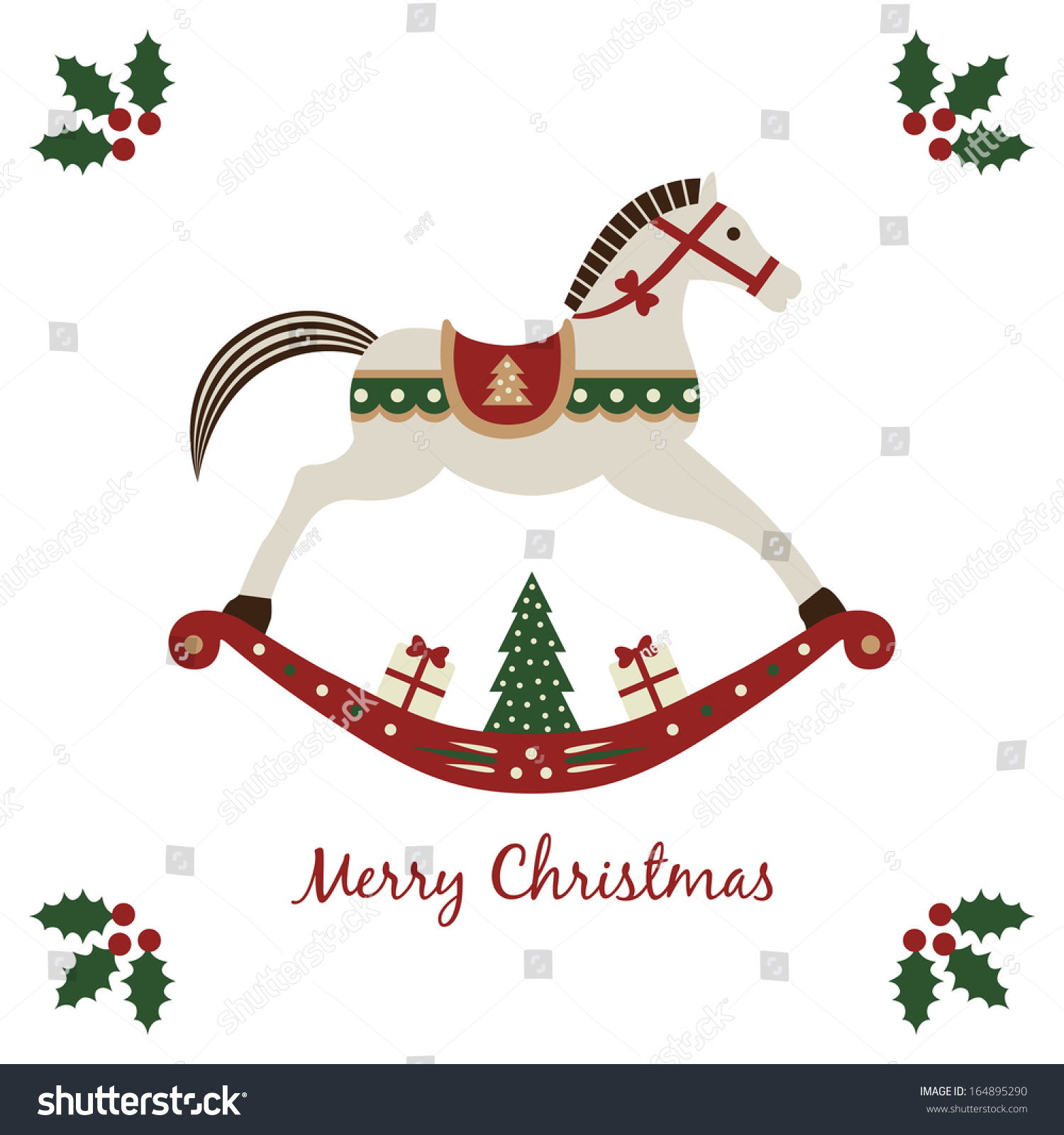Merry Christmas Card Rocking Horse Symbol Stock Vector Royalty Free 164895290