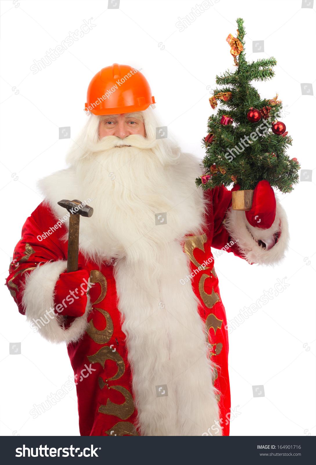 Santa Claus Christmas Tree Construction Helmet Stock Photo (Edit Now ...
