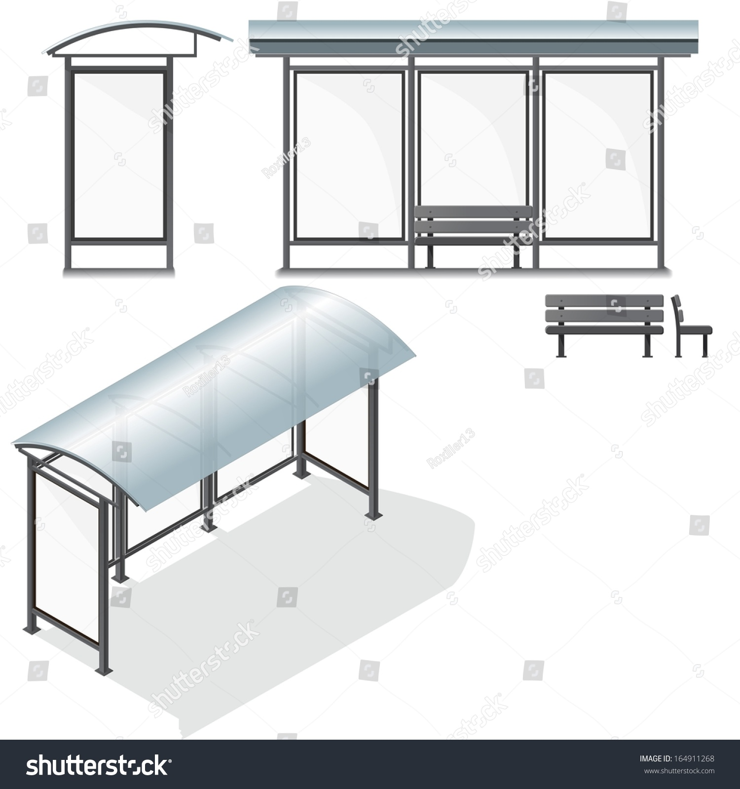 Bus Stop. Empty Design Template For Branding. Vector Illustration ...
