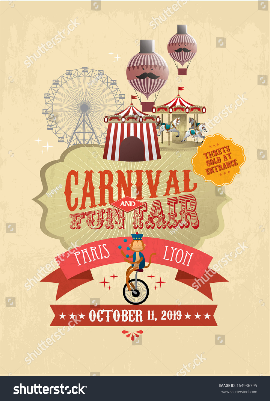 Vintage Carnival Fun Fair Fairground Circus Poster Template Vector Illustration
