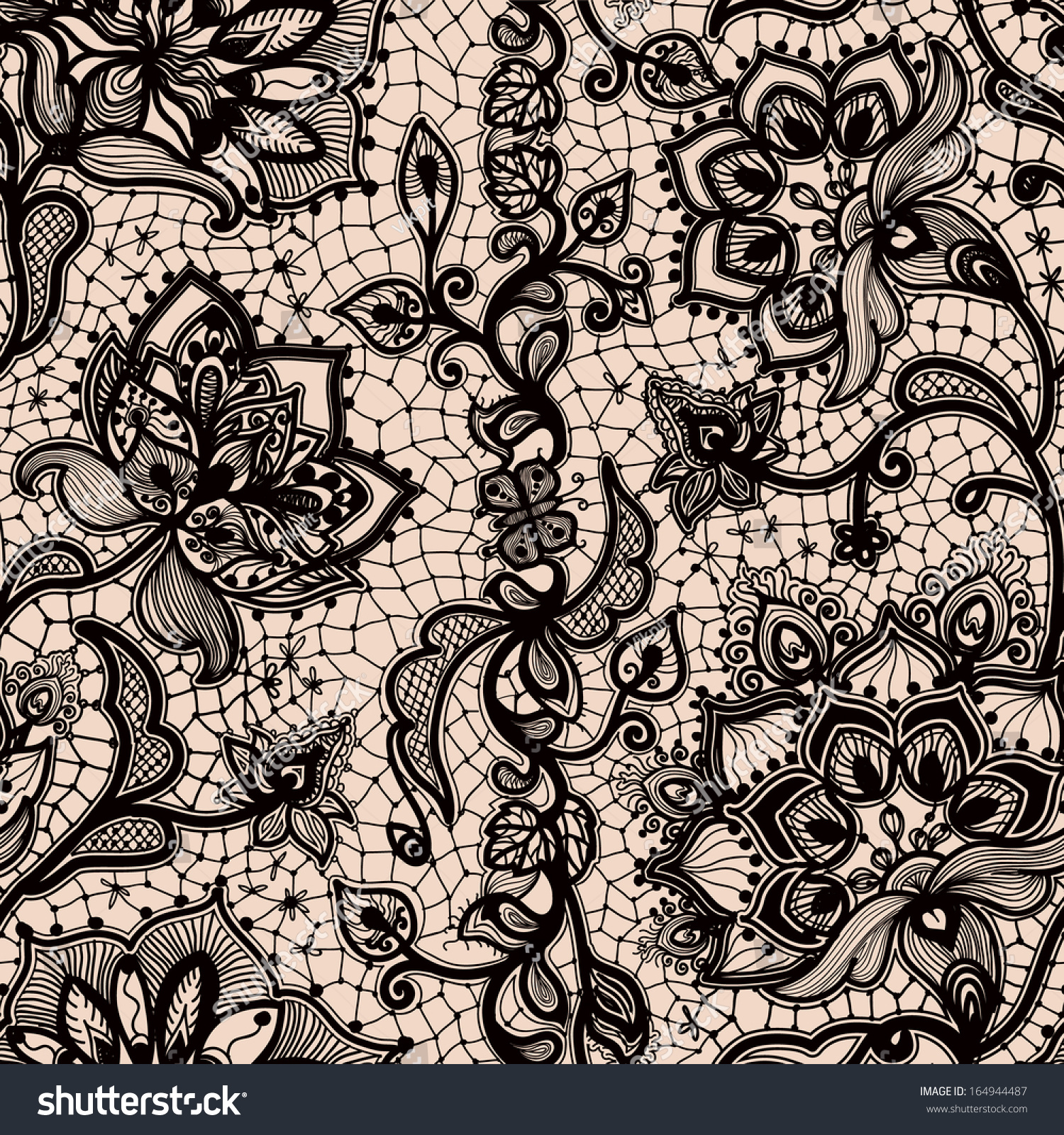 Abstract Seamless Lace Pattern Flowers Butterflies Stock Vector ...