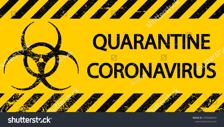 Yellow Black Stripes Sign Symbol Quarantine Stock Vector (Royalty Free)  1649484043