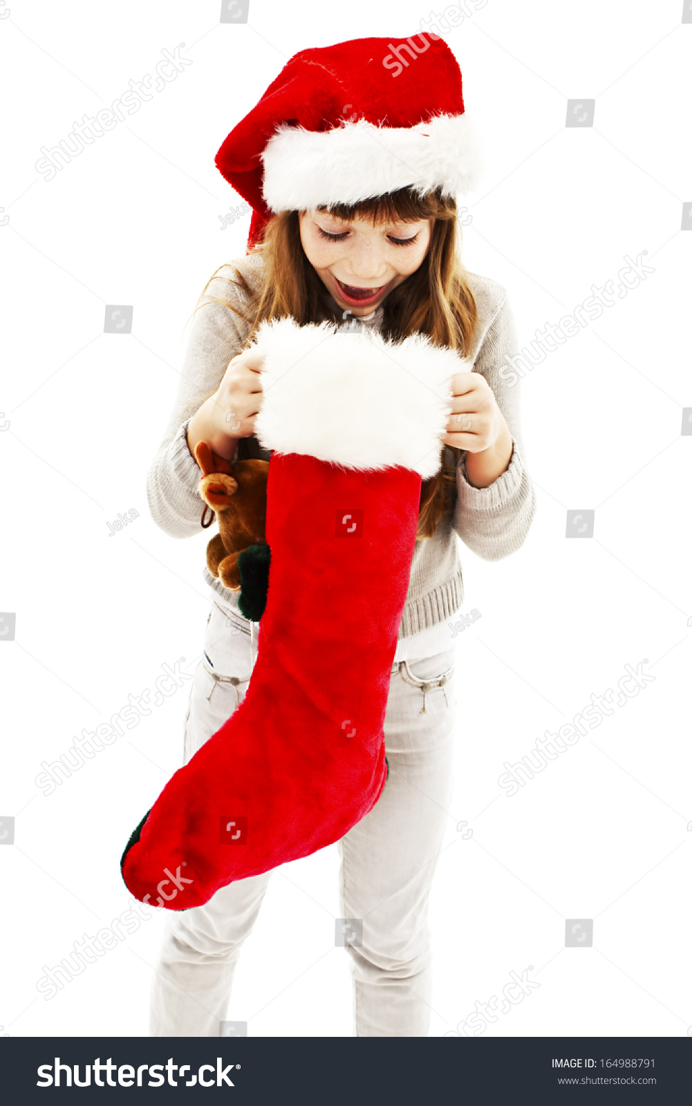 Little girl with Christmas gift. Isolated on white background. | EZ ...