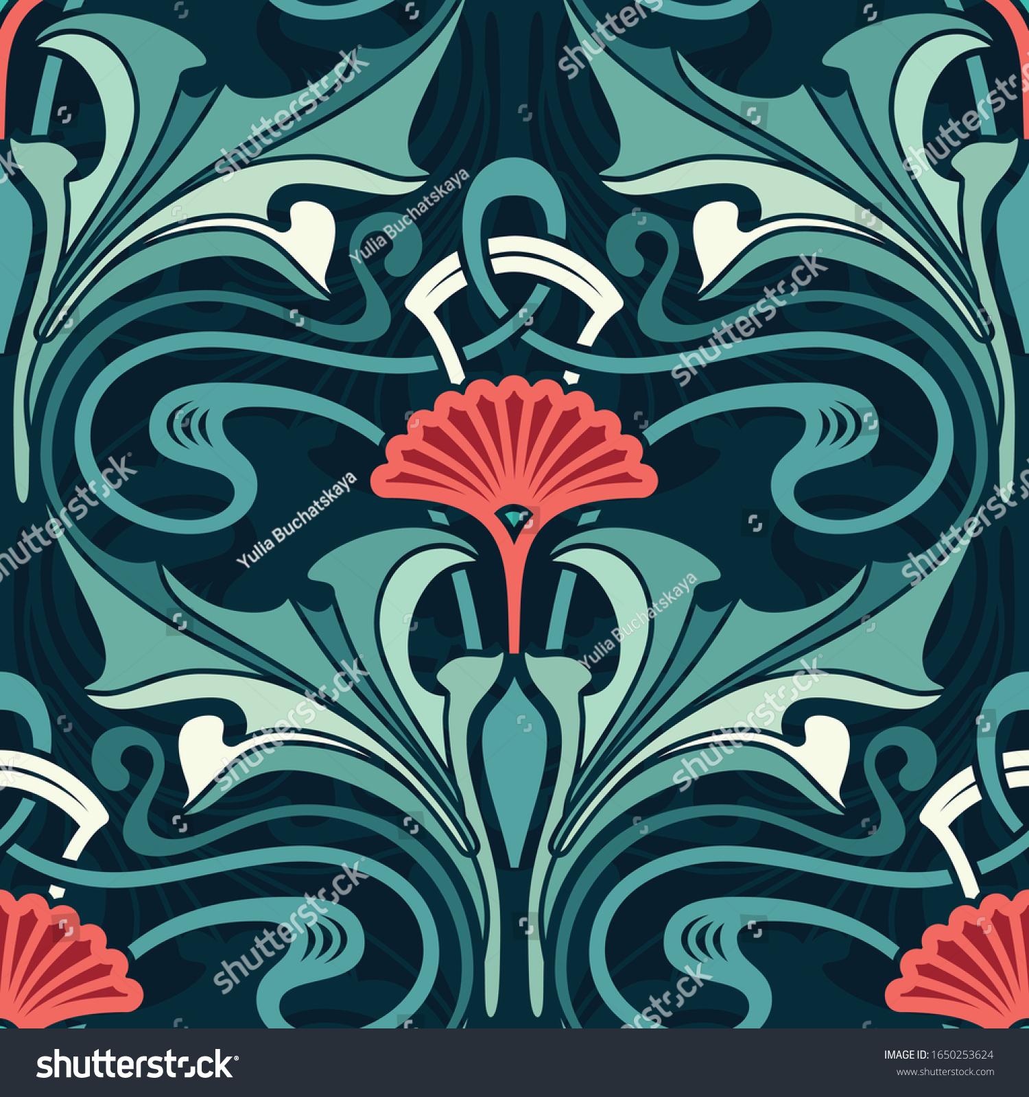 Art Nouveau Floral Wallpaper Emerald Garden Stock Vector Royalty
