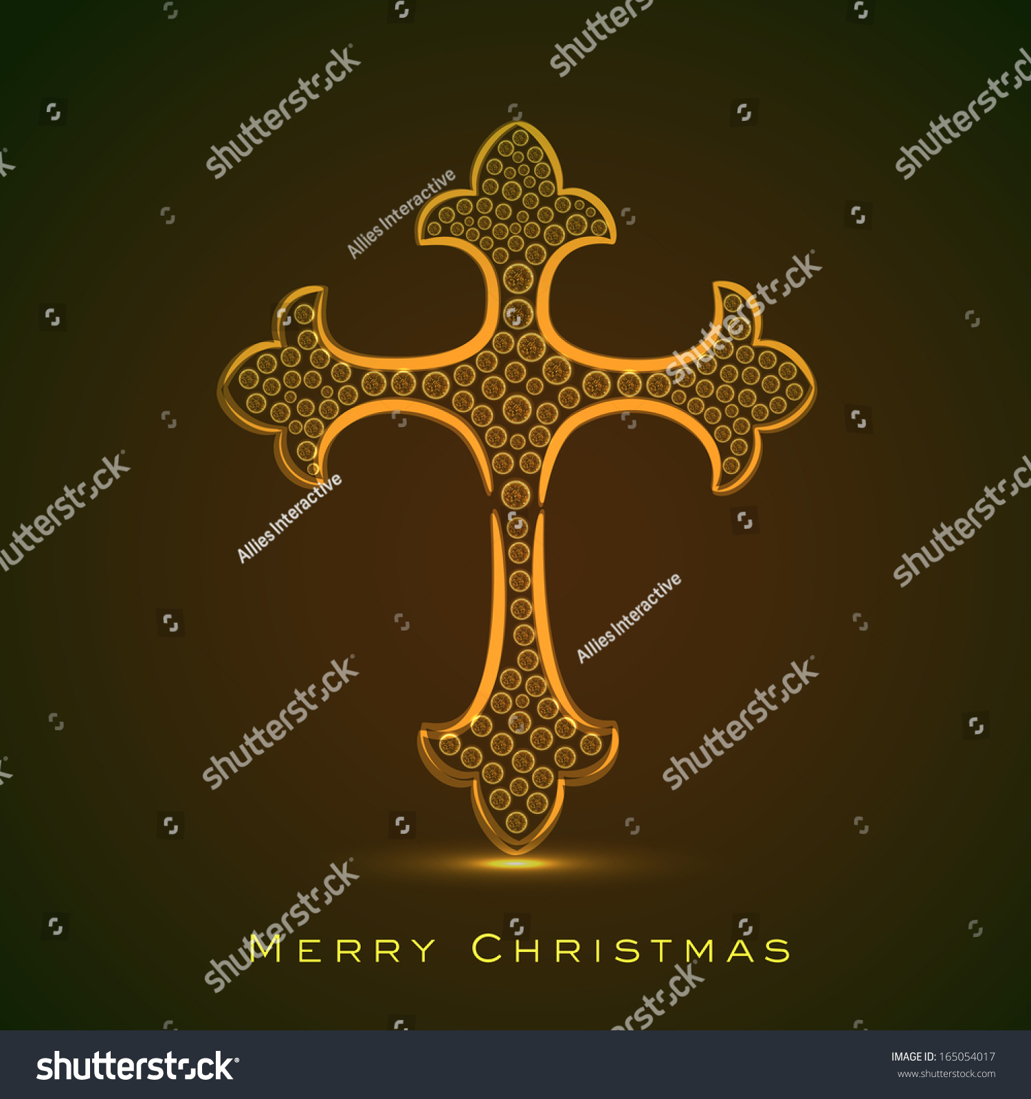 Merry christmas happy new year 2014 stock vector 165054017 merry christmas and happy new year 2014 celebration concept with golden christian cross on brown background voltagebd Image collections