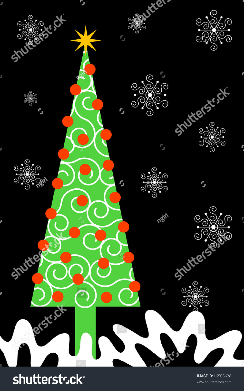 Tall Narrow Christmas Tree Has Red Stock Vector 16505638 - Shutterstock