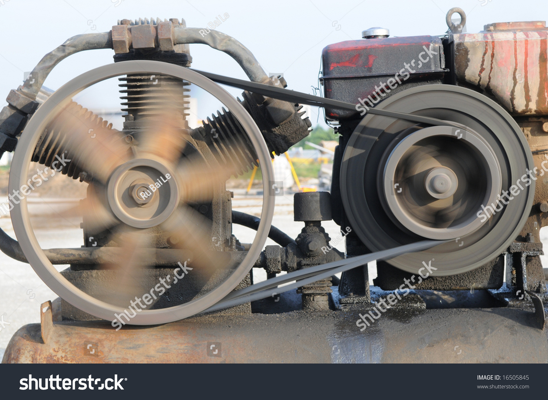 Old Engine Flywheel Rotating Stock Photo 16505845