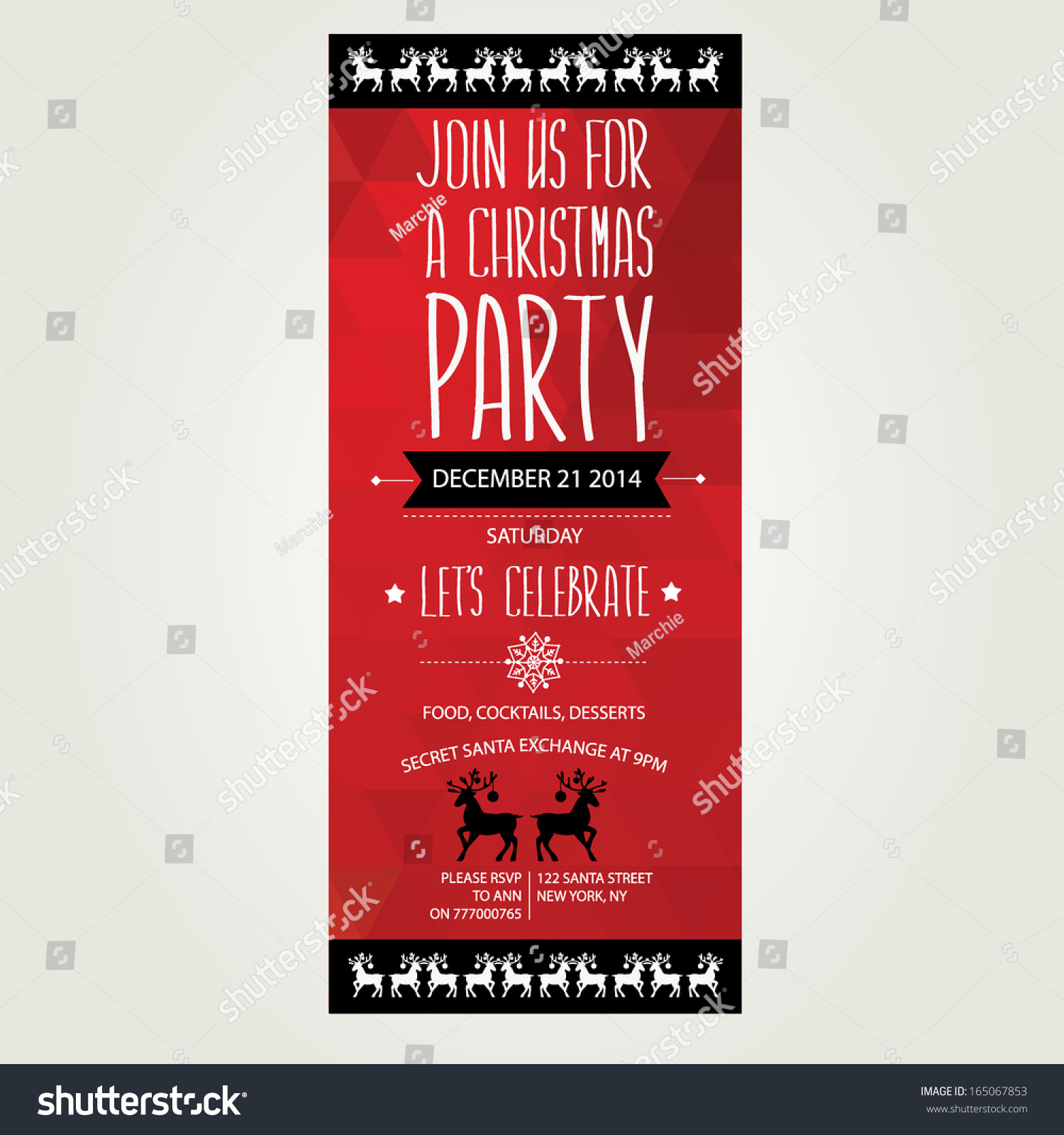 Vector Christmas Party Invitation Toys Holiday Stock Vector (2018 ...