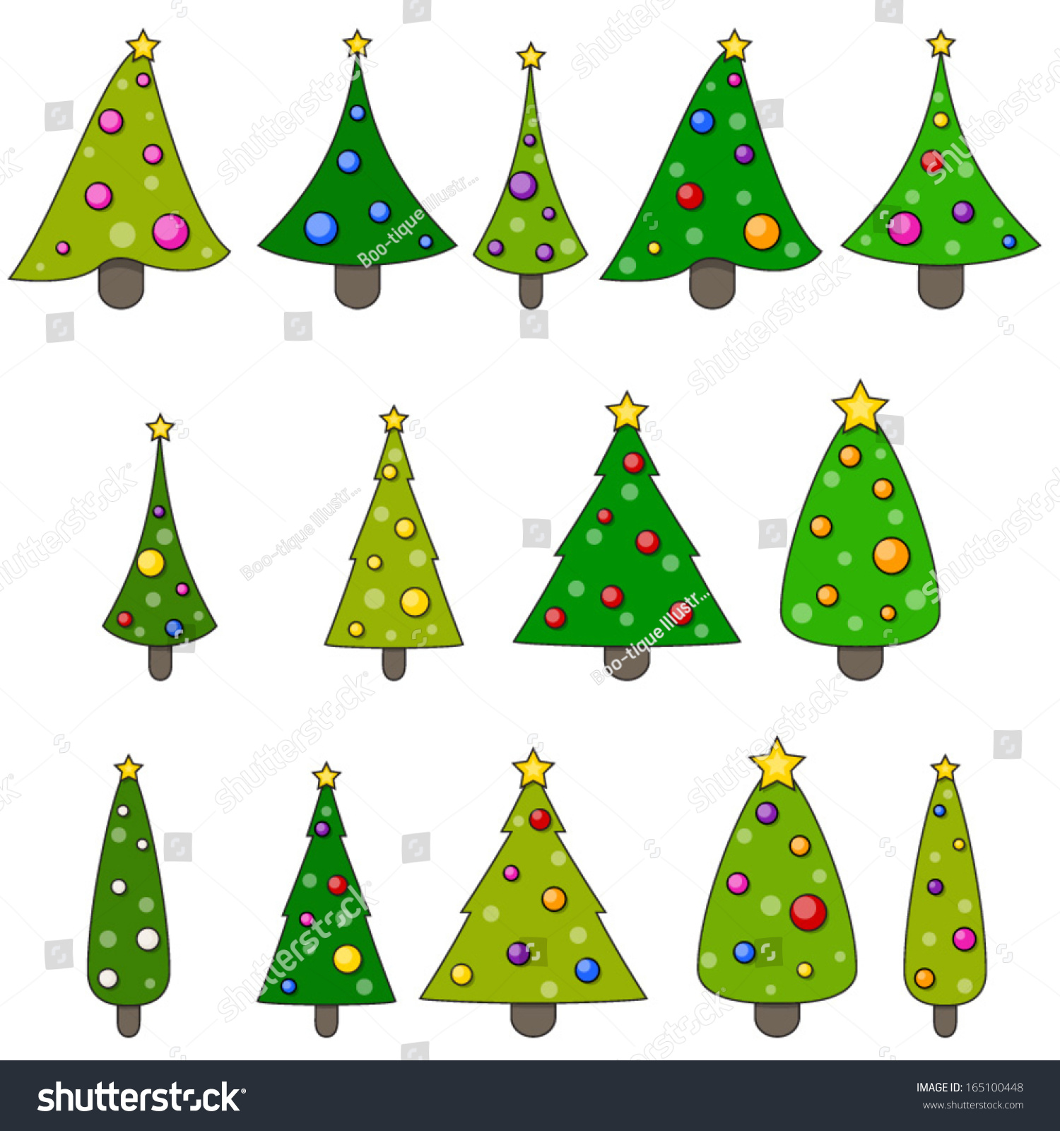 christmas tree clip art set xmas trees clip art - Christmas Tree Clip
