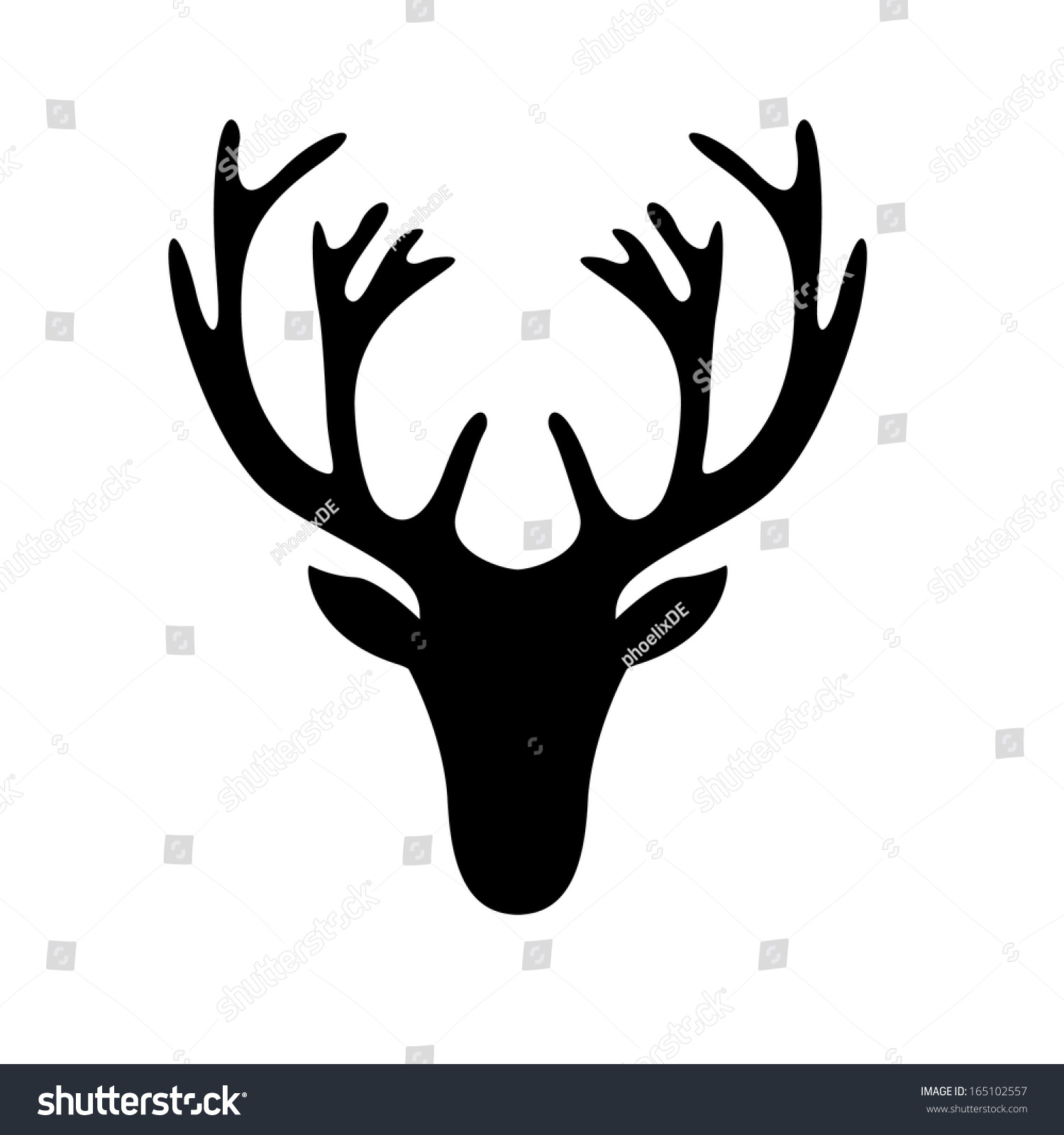 Illustration Deer Head Silhouette Isolated On Stock Vector