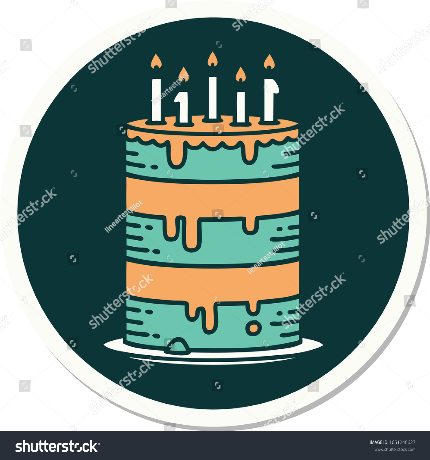 Magnificent Sticker Tattoo Traditional Style Birthday Cake Stock Vector Birthday Cards Printable Riciscafe Filternl