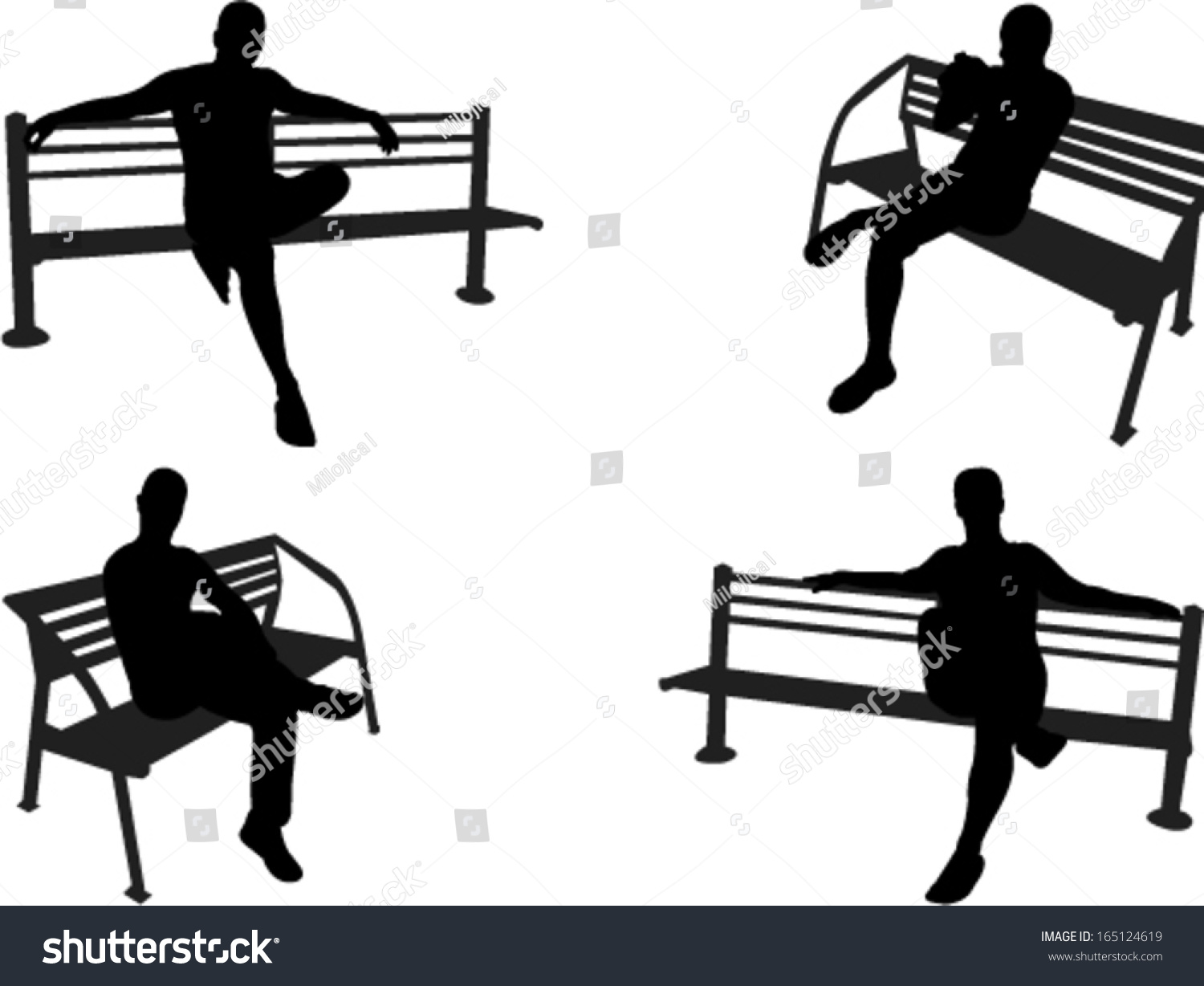 People Sitting On Park Bench Vector Stock Vector (2018) 165124619 ... for People On Bench Silhouette  569ane