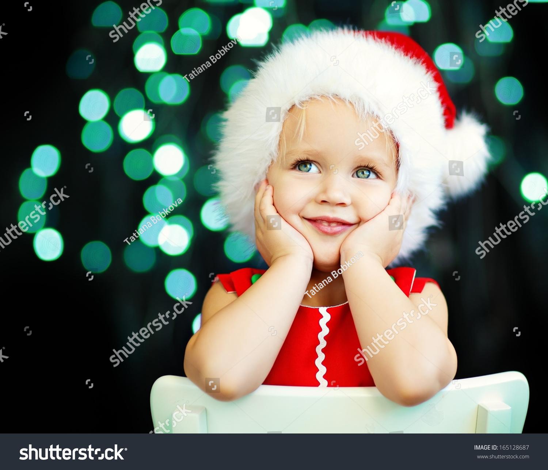 Cute Smiling 2years Old Girl Santa Stock Photo 165128687