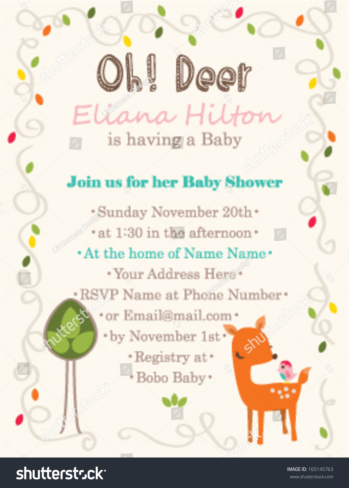 Baby Shower Invitation Template Oh Deer Stock Vector 165145763 ...