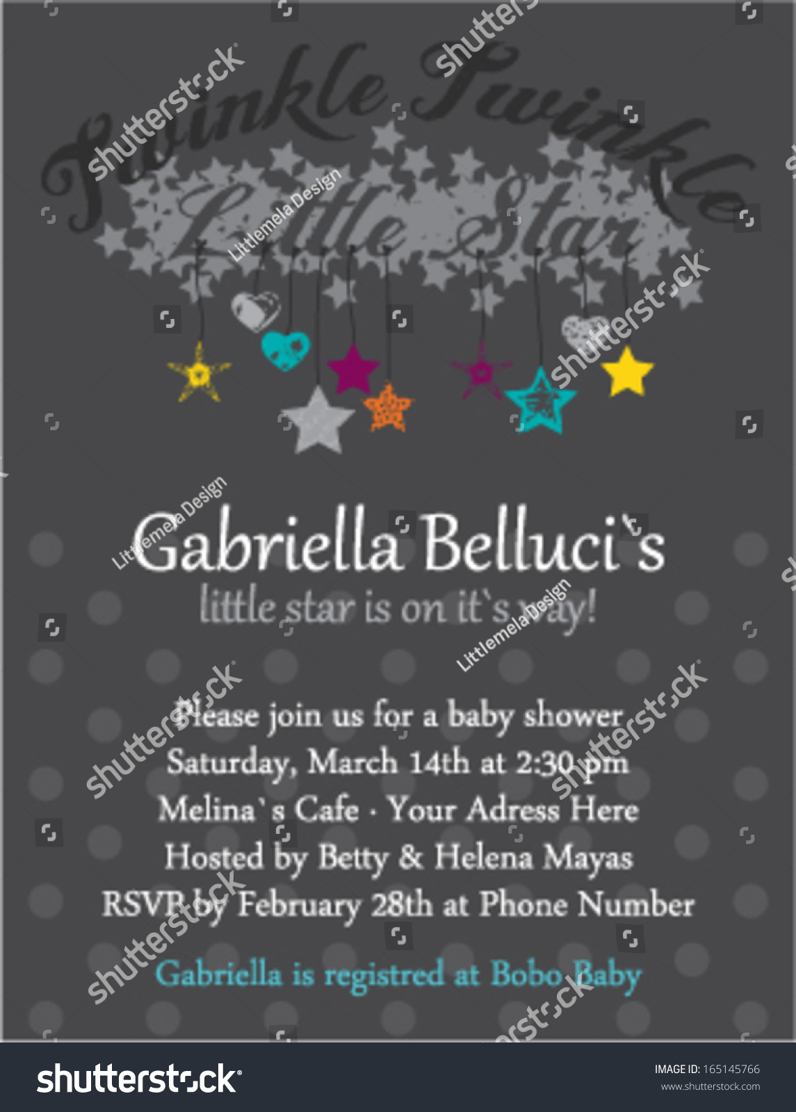 Baby Shower Invitation Template Twinkle Star Stock Vector Royalty