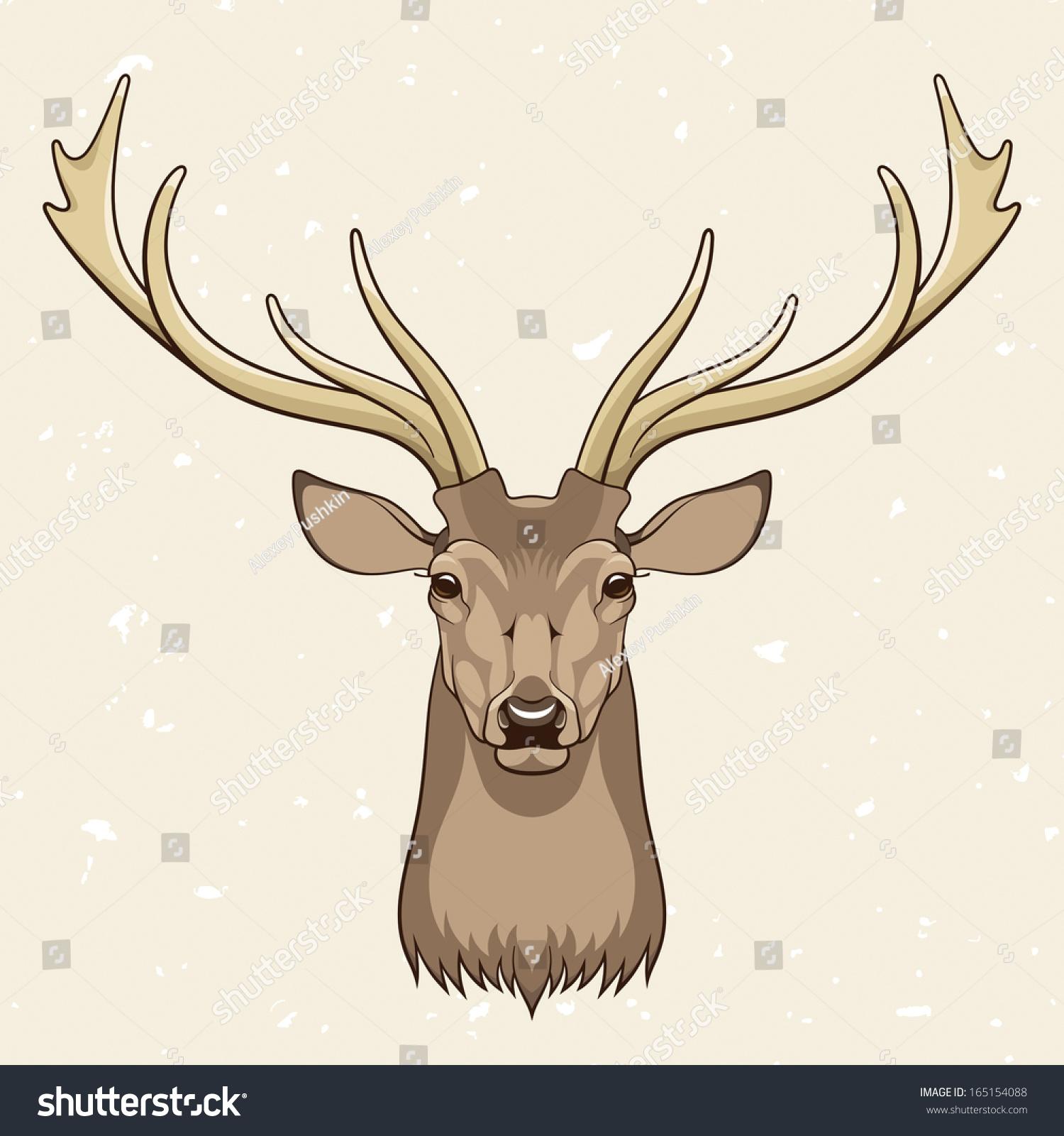Deer Head Vector Illustration Stock Vector 165154088 ...