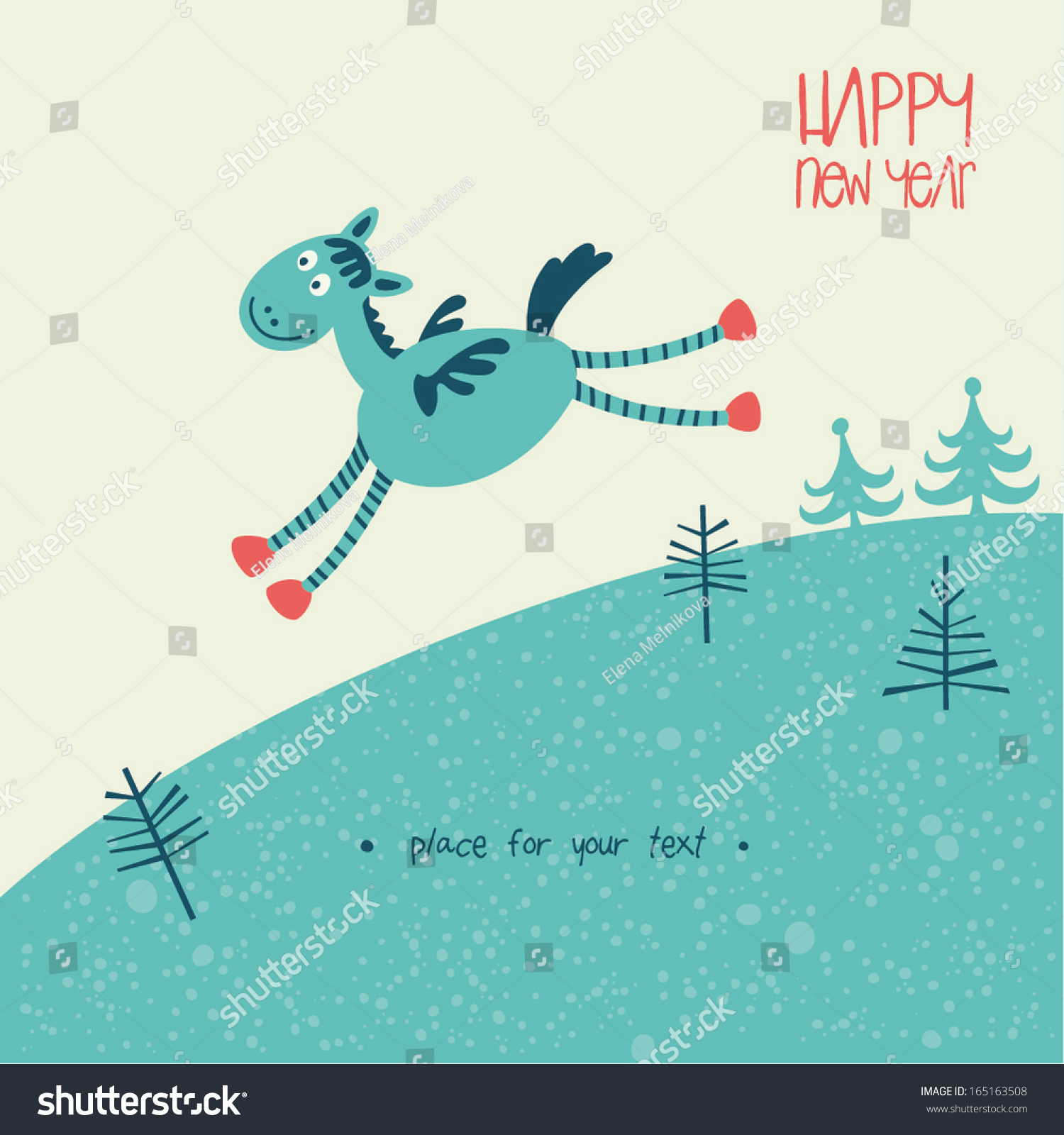 blue wooden horse happy new year 2014 vector eps 8