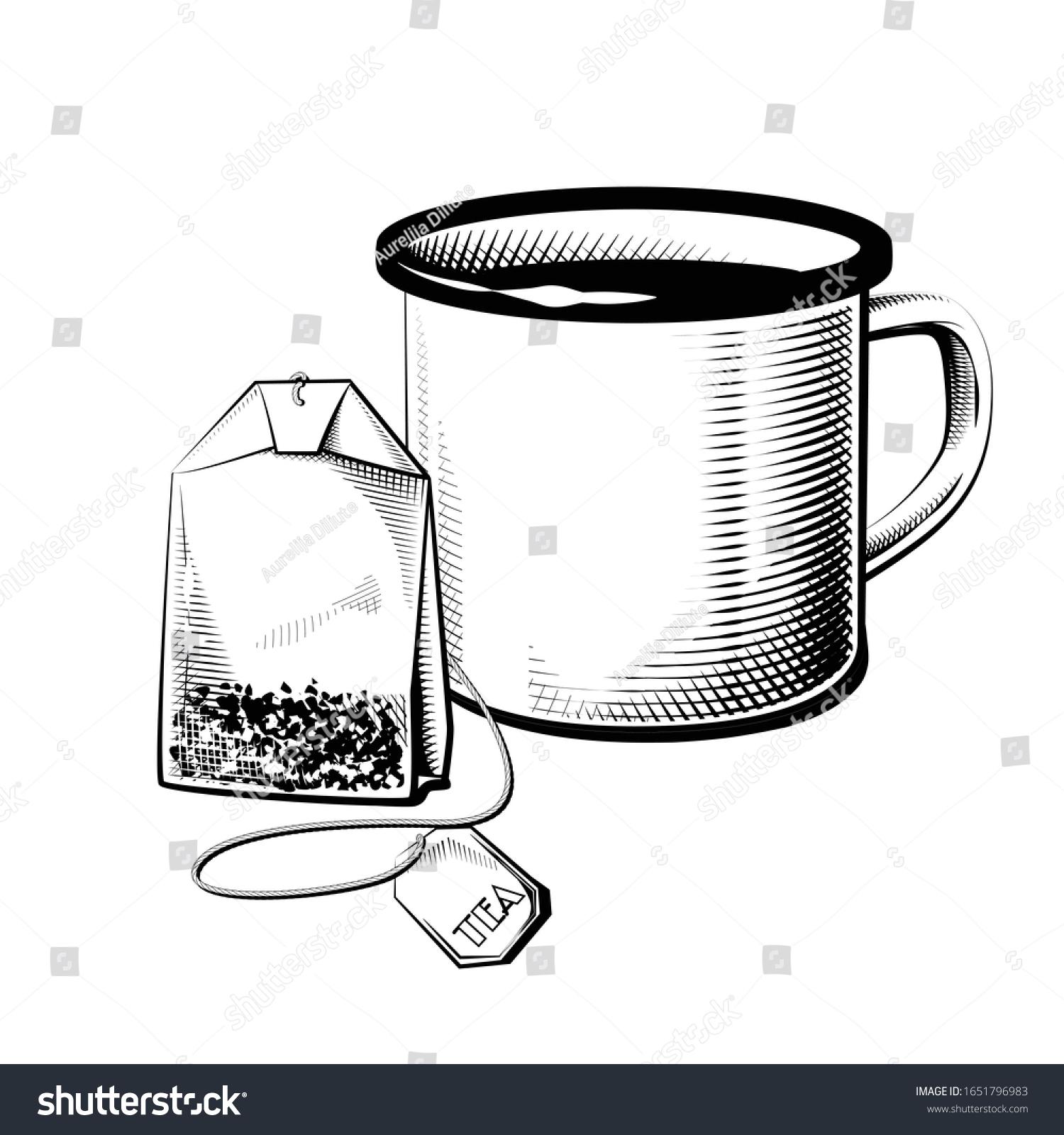 Detailed Enamel Mug Tea Bag Sketch Stock Vector Royalty Free 1651796983
