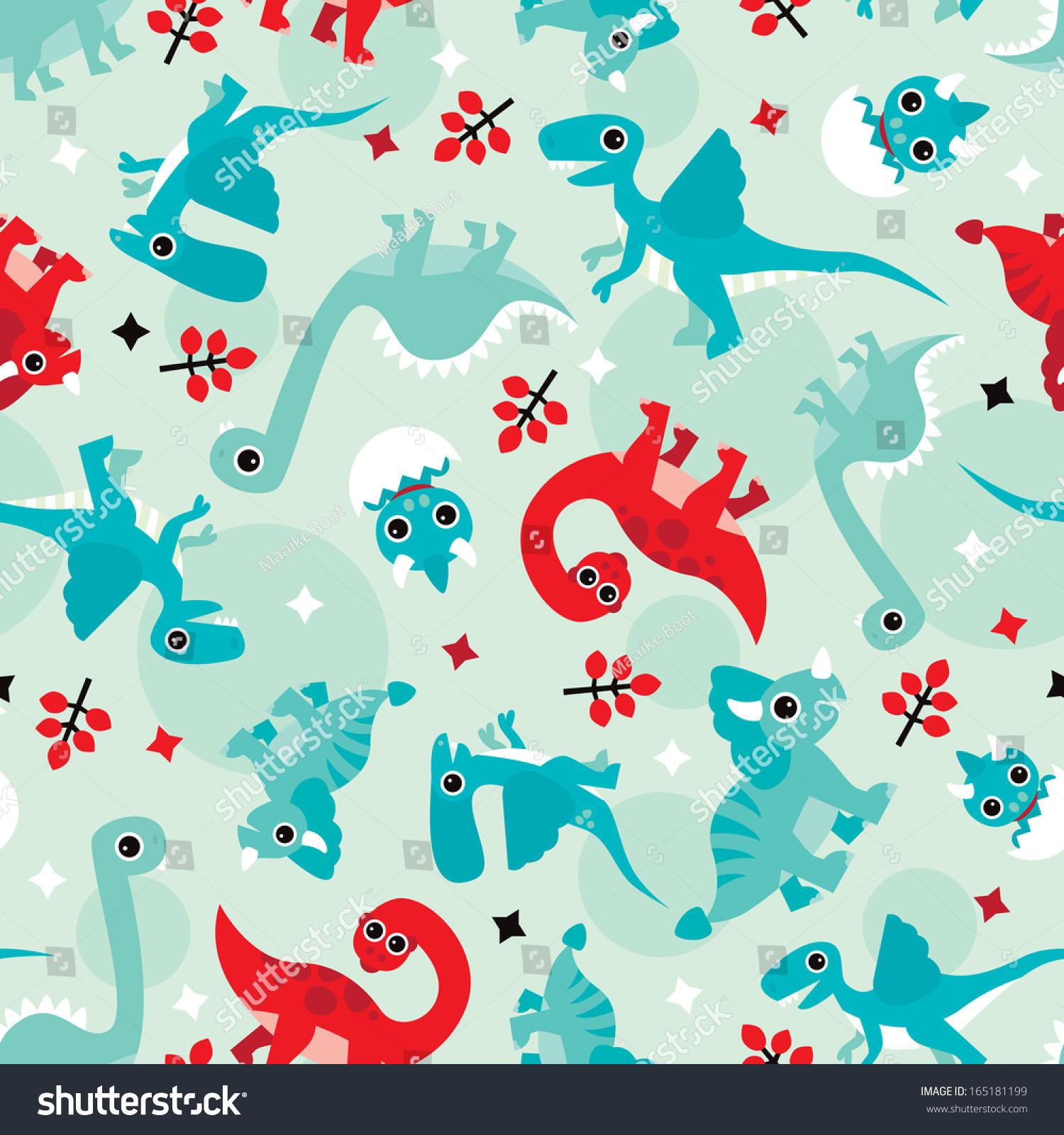 seamless red blue baby dinosaur animal stock vector