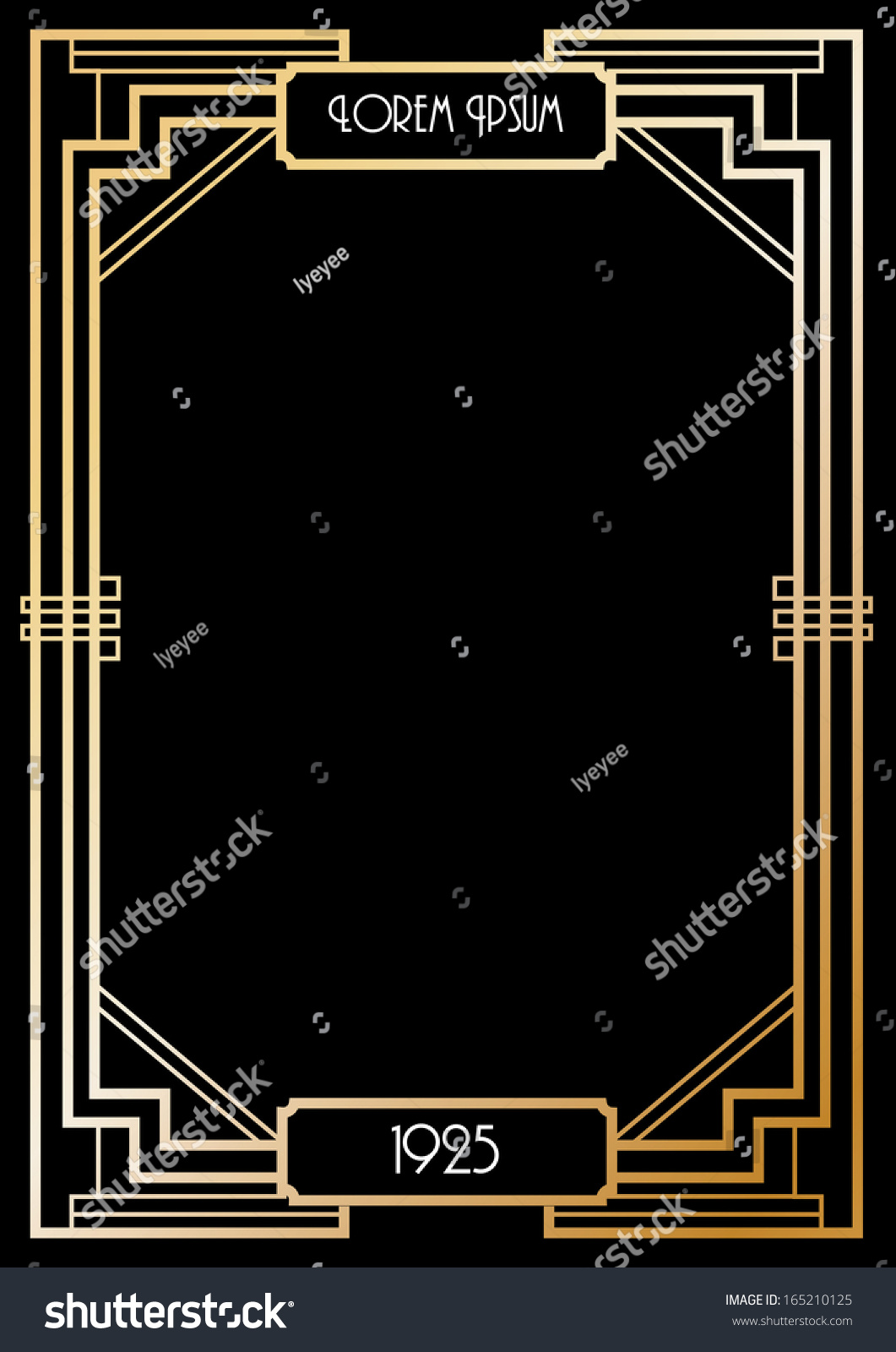 art deco border template vectorillustration stock vector
