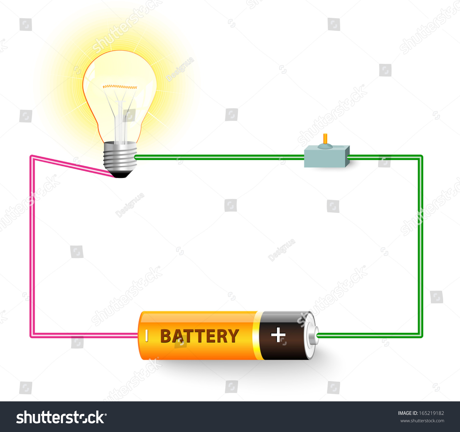 Simple Electric Circuit Electrical Network Switch Stock Illustration ...
