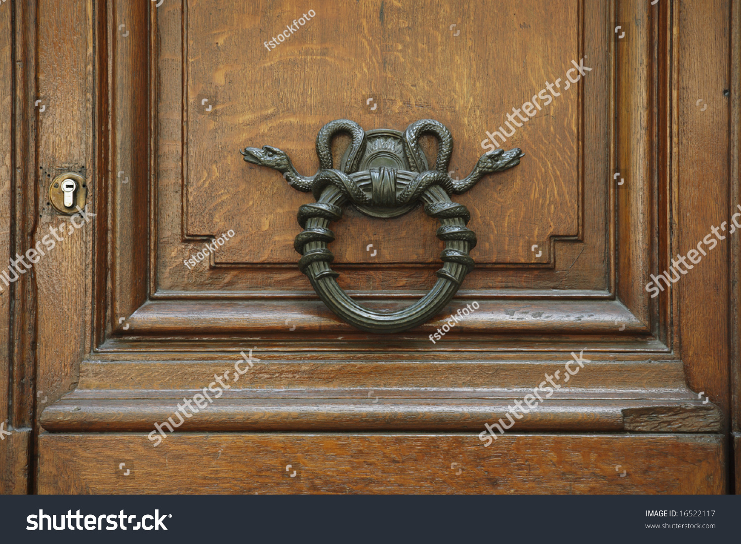An Old World Style Door Knocker With Coiled Snakes France
