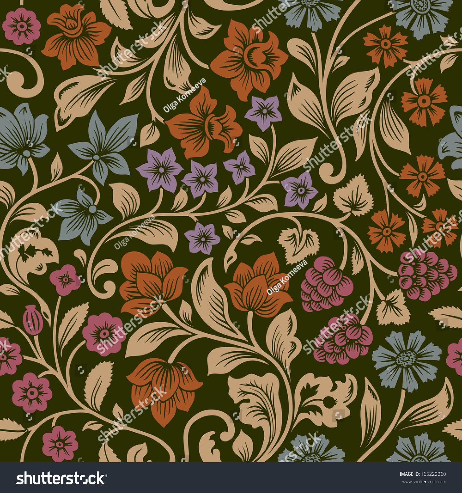 Beautiful Vintage Floral Seamless Pattern Garden Stock ...   Black Floral Vintage Pattern