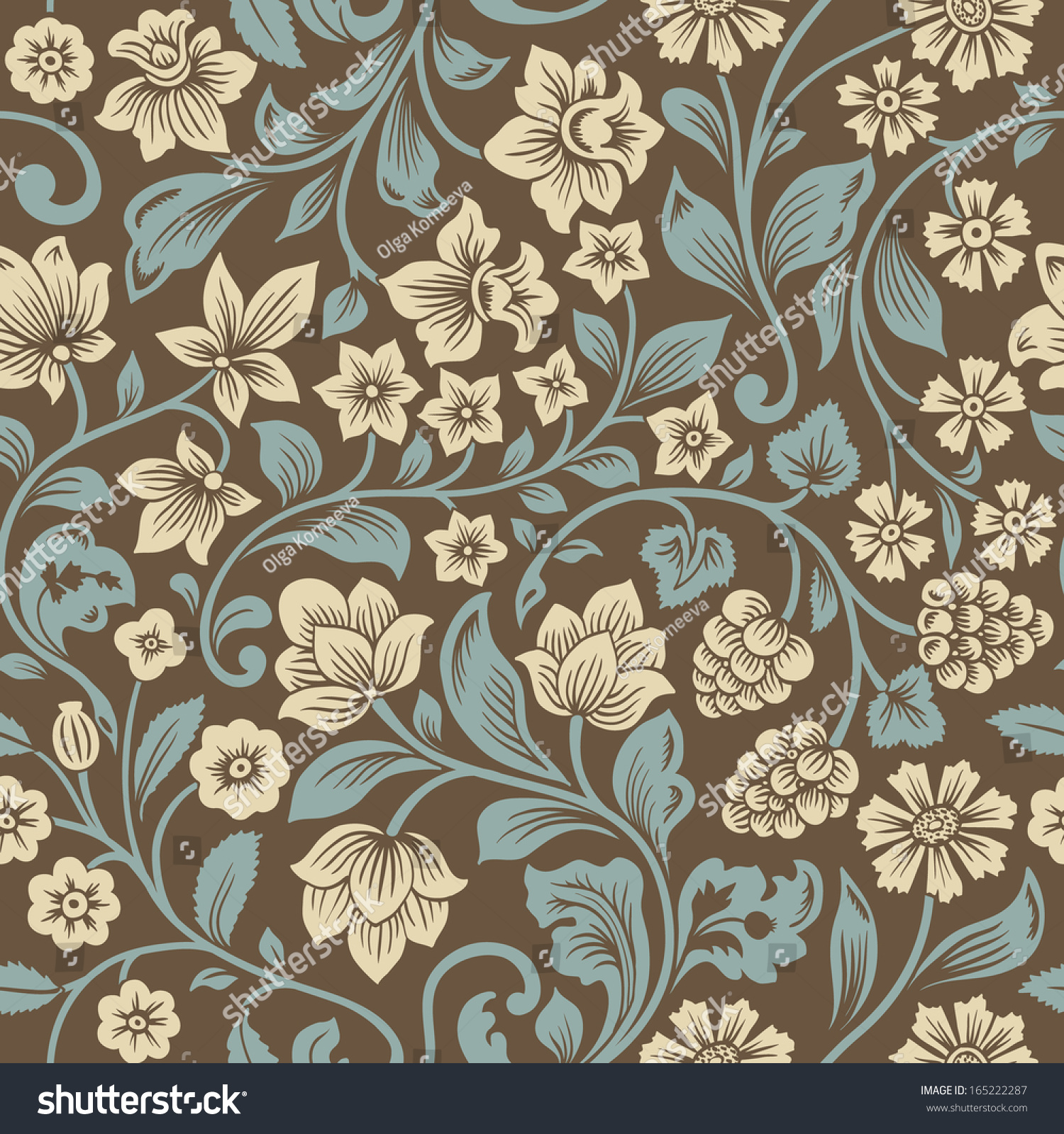 Vintage Floral Seamless Pattern Stock Illustration